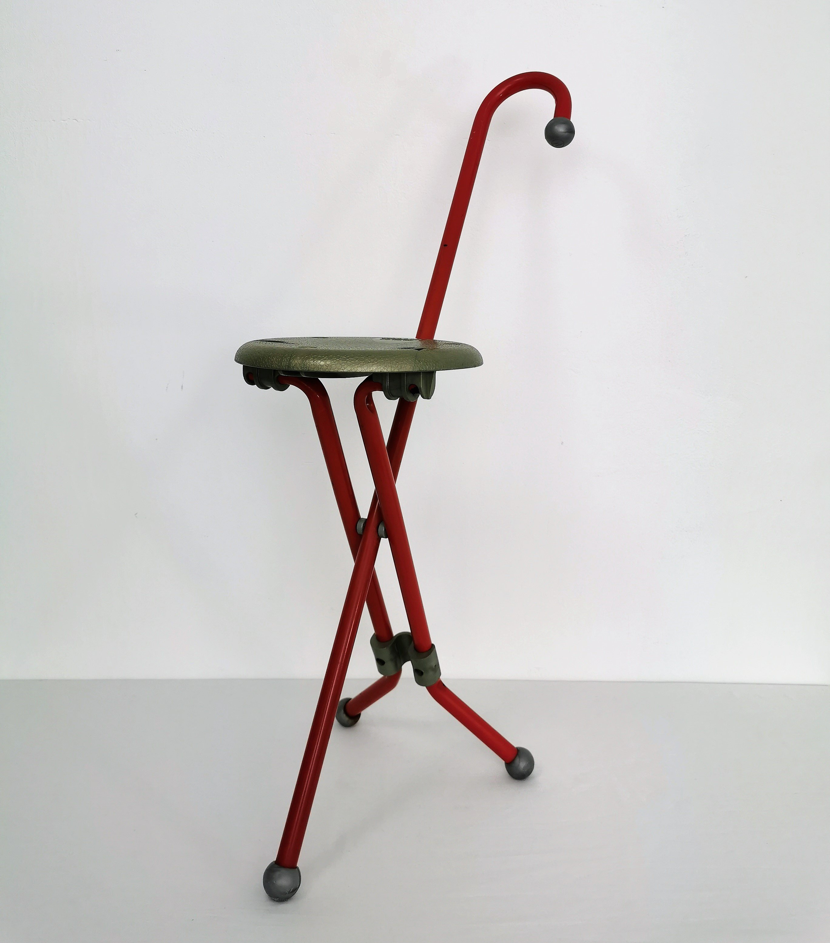 Fine Ulisse Folding Stool Walking Stick By Ivan Loss 1980S Pabps2019 Chair Design Images Pabps2019Com