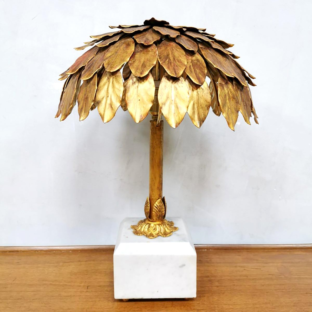 Midcentury Design Gold Gilded Palm Tree Table Lamp