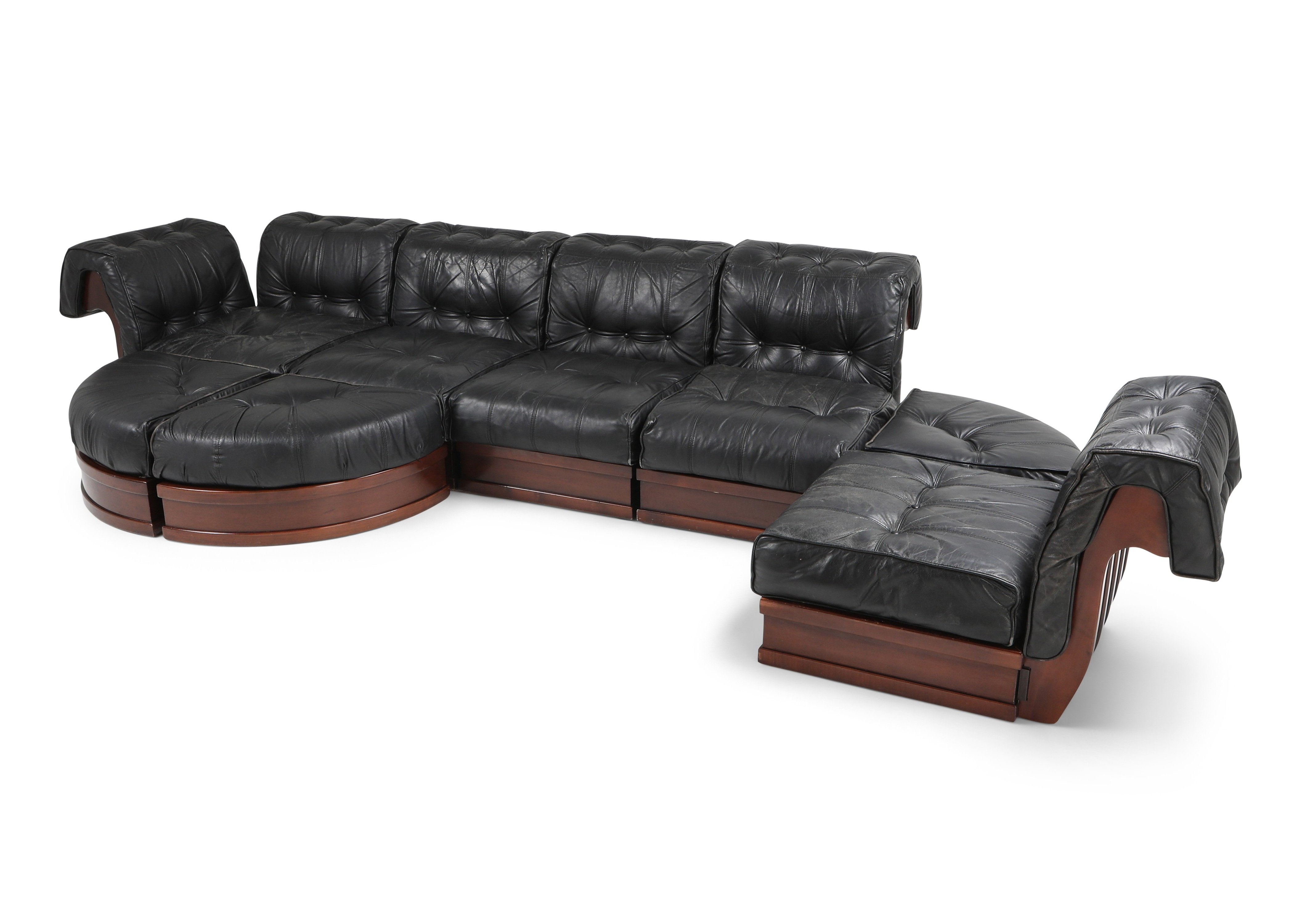 Sectional Sofa In Black Leather Mahogany By Luciano Frigerio 1970s