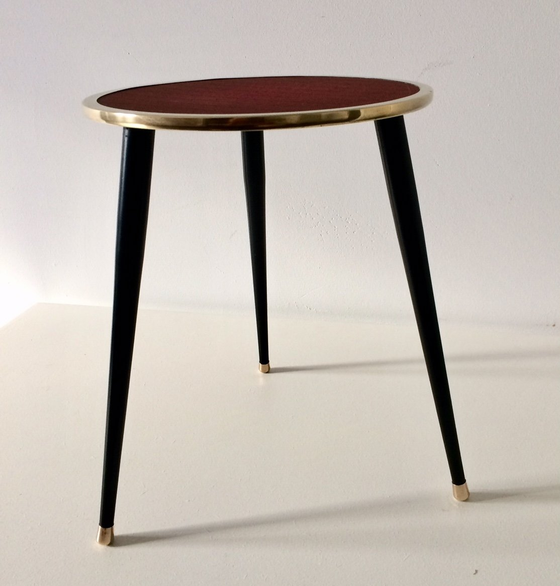 Midcentury 1950 S Belgian Design Metal Brass Tripod Side Table 114438