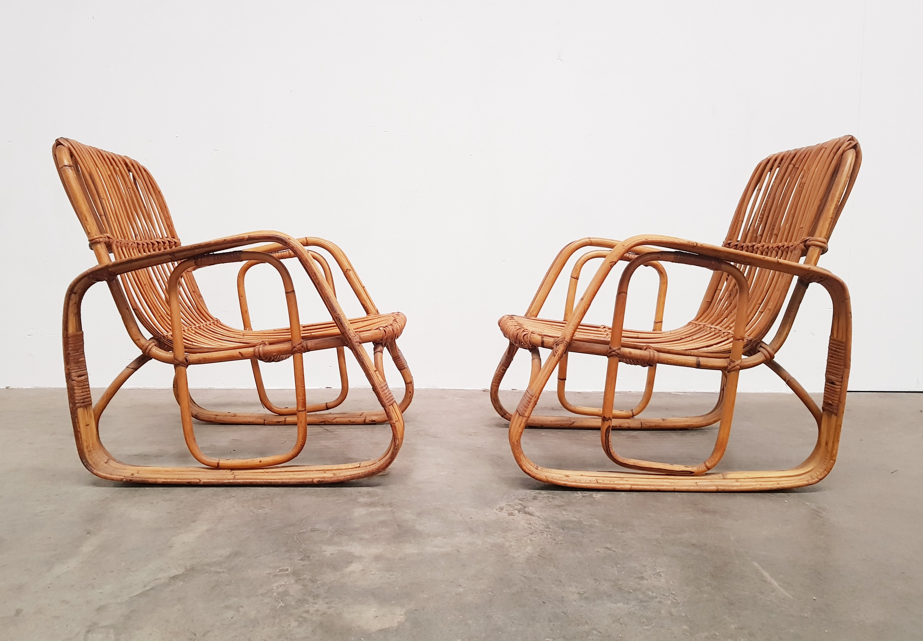 pair of rattan lounge chairs 1960s