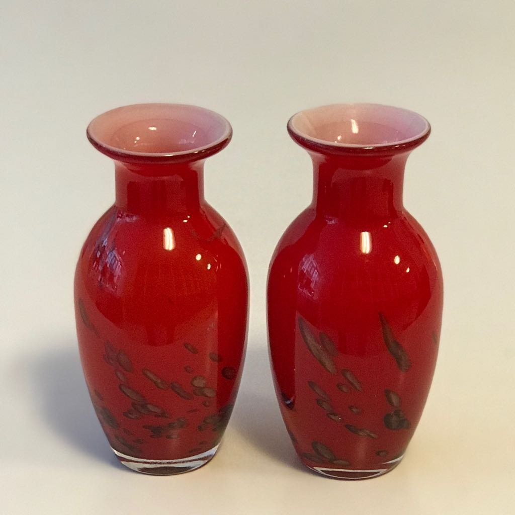 Bohemia Gl Red Gold Vases Made In Czechoslovakia