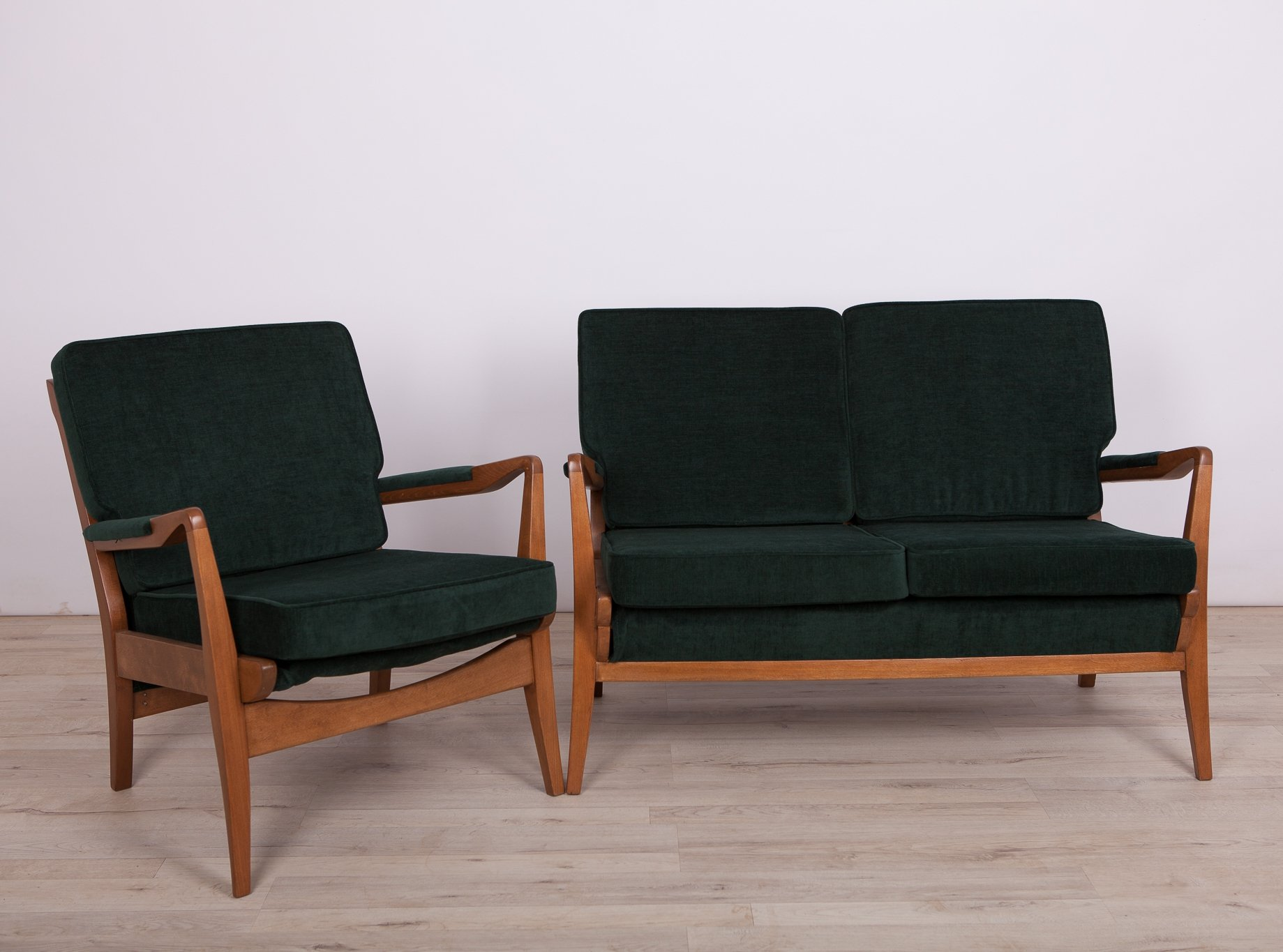 green sofa and armchair from cintique 1960s