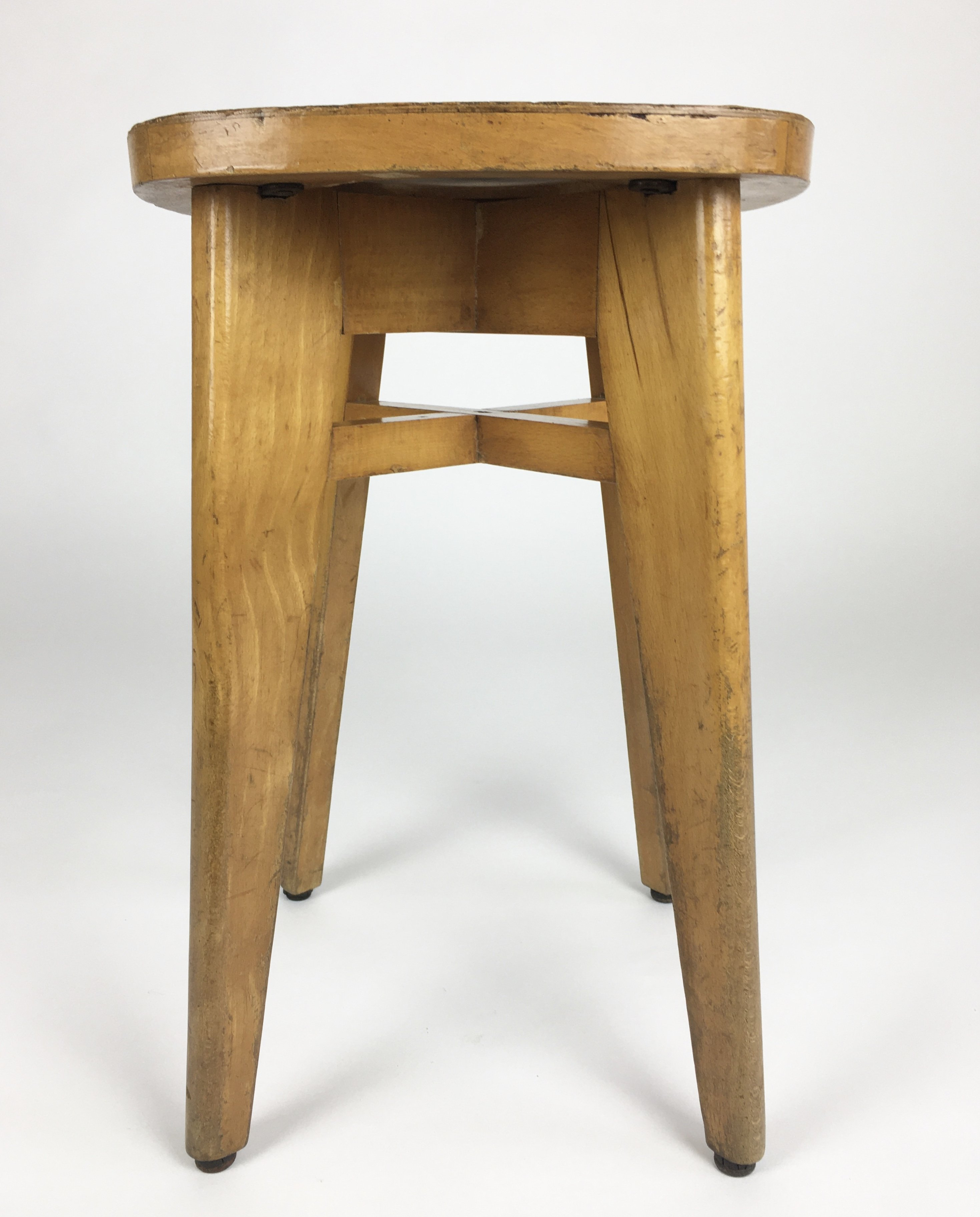 Admirable Mid Century Wooden Stool France 1950S Dailytribune Chair Design For Home Dailytribuneorg