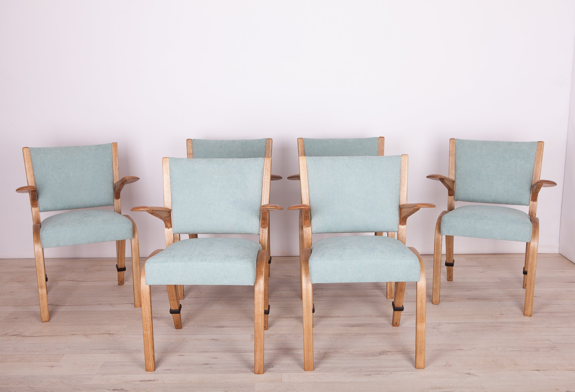 Set Of 6 Vintage French Oak Dining Chairs By Hugues Steiner For Steiner 1960s 116091