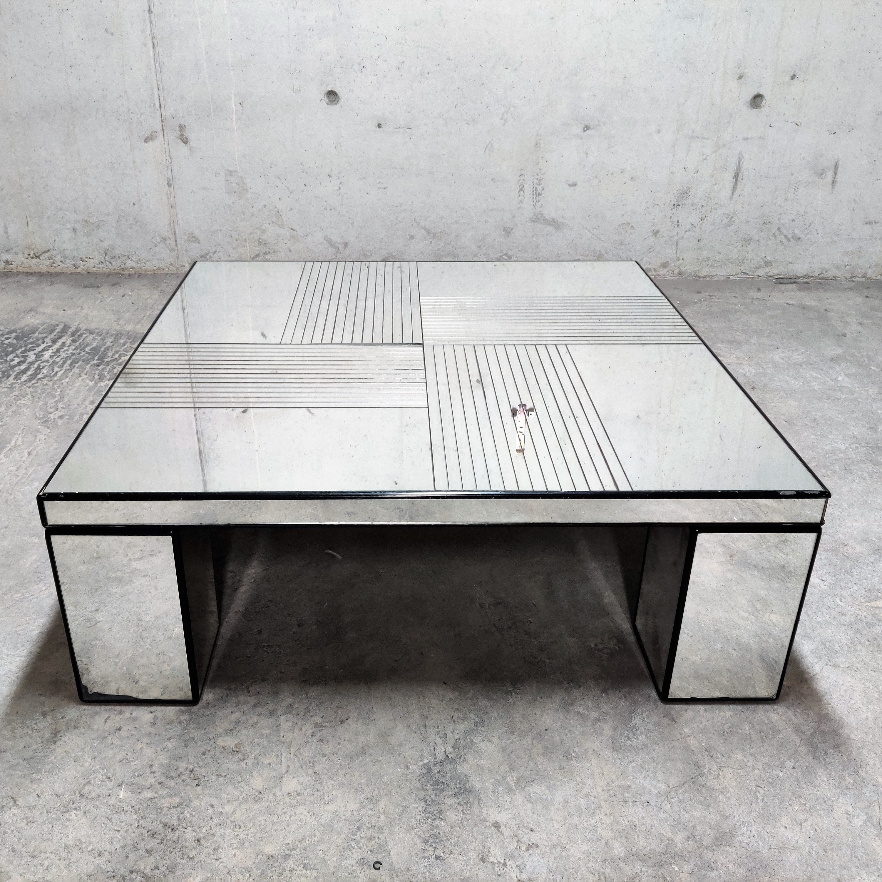 Vintage Mirrored Coffee Table 1970s