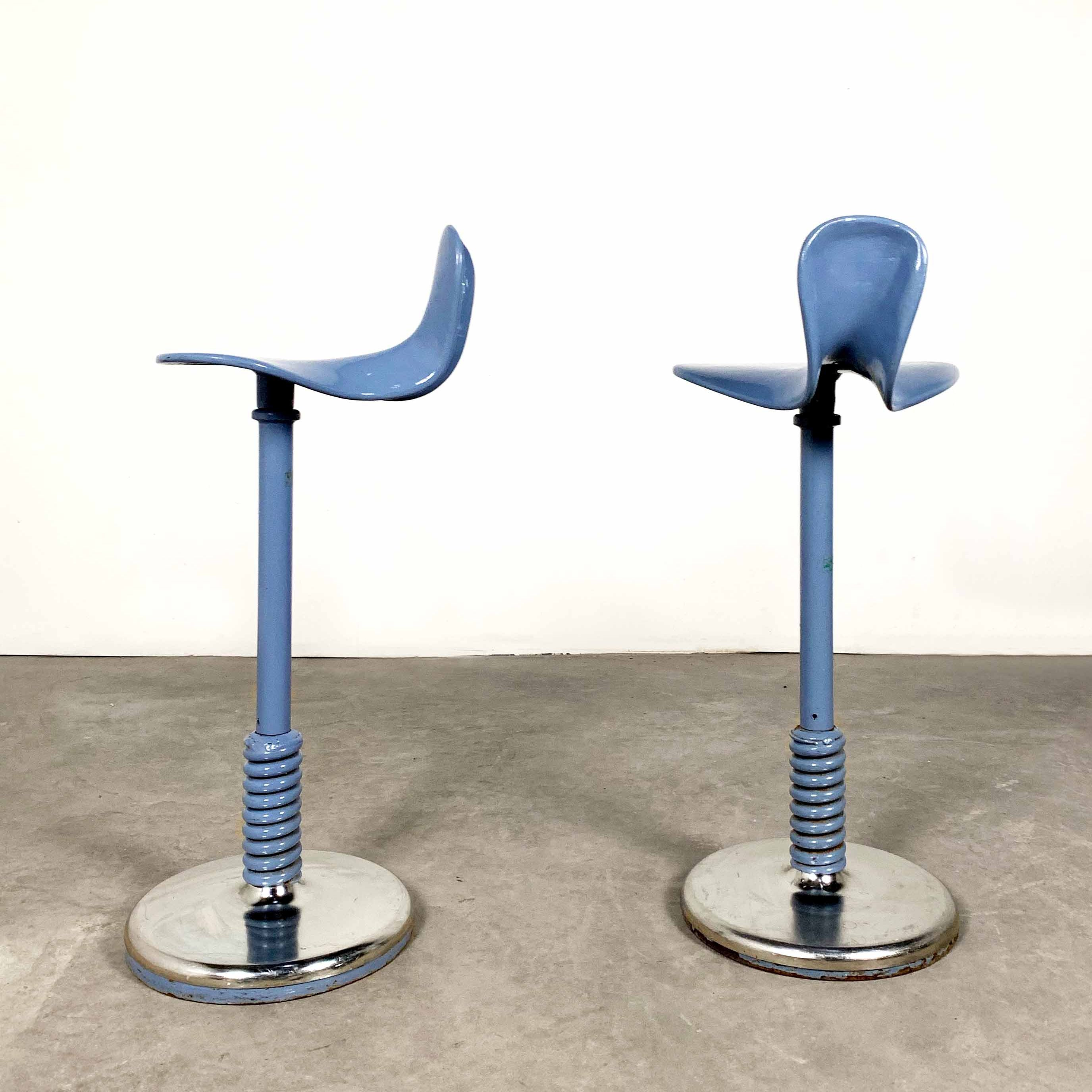 Tremendous Set Of 2 Adjustable Blue Metal Stools 1960S Ocoug Best Dining Table And Chair Ideas Images Ocougorg
