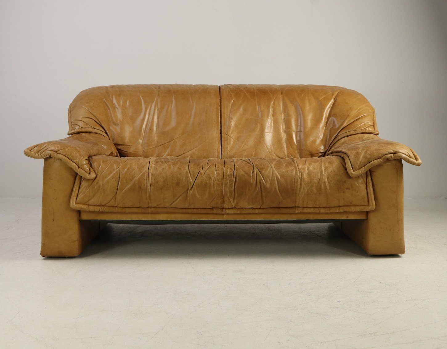 1970s cognac leather sofa