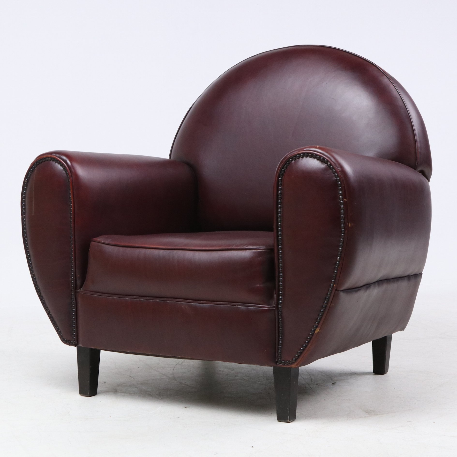Enjoyable Maroon Leather Art Deco Style Armchair Pdpeps Interior Chair Design Pdpepsorg