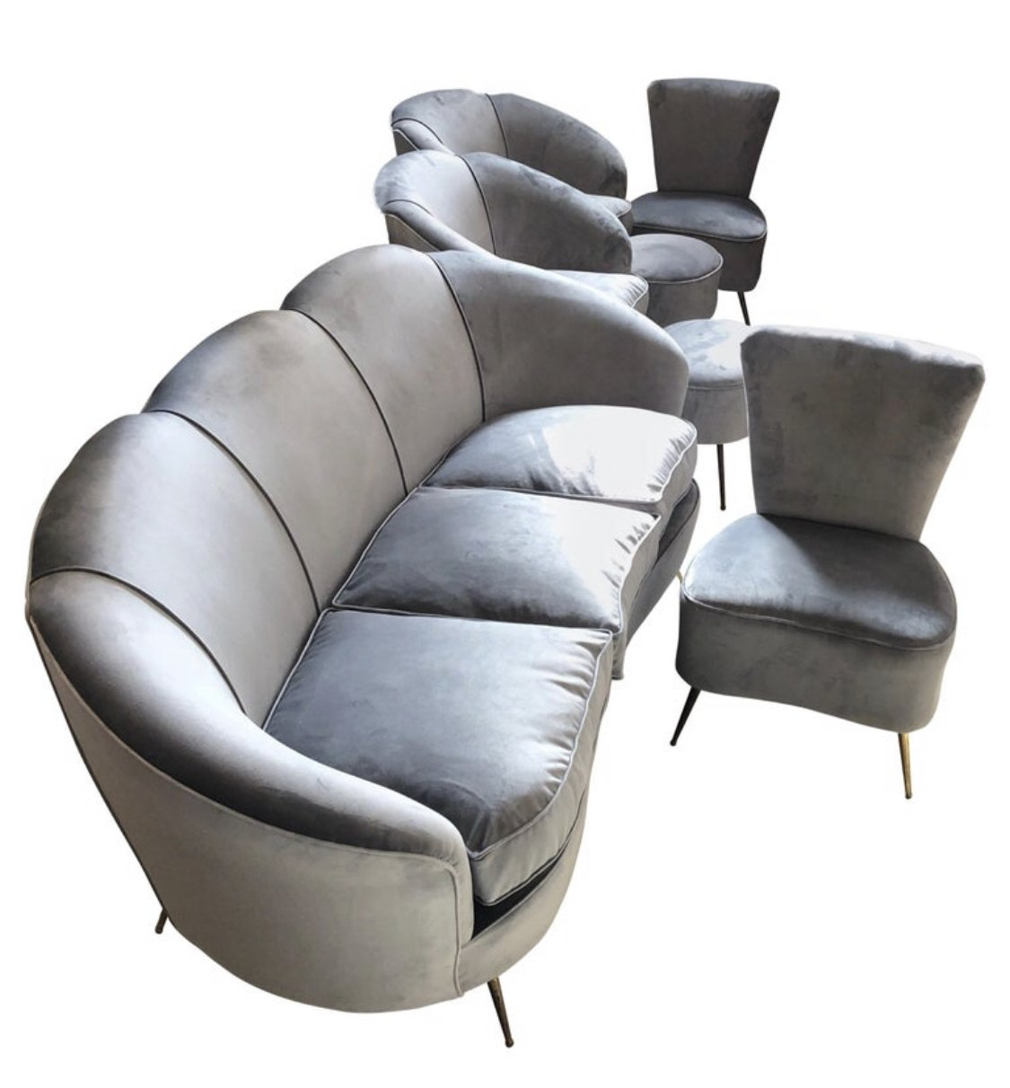 Picture of: Mid Century Modern Grey Velvet Sofa Armchairs Chairs Poufs Circa 1950s 116915
