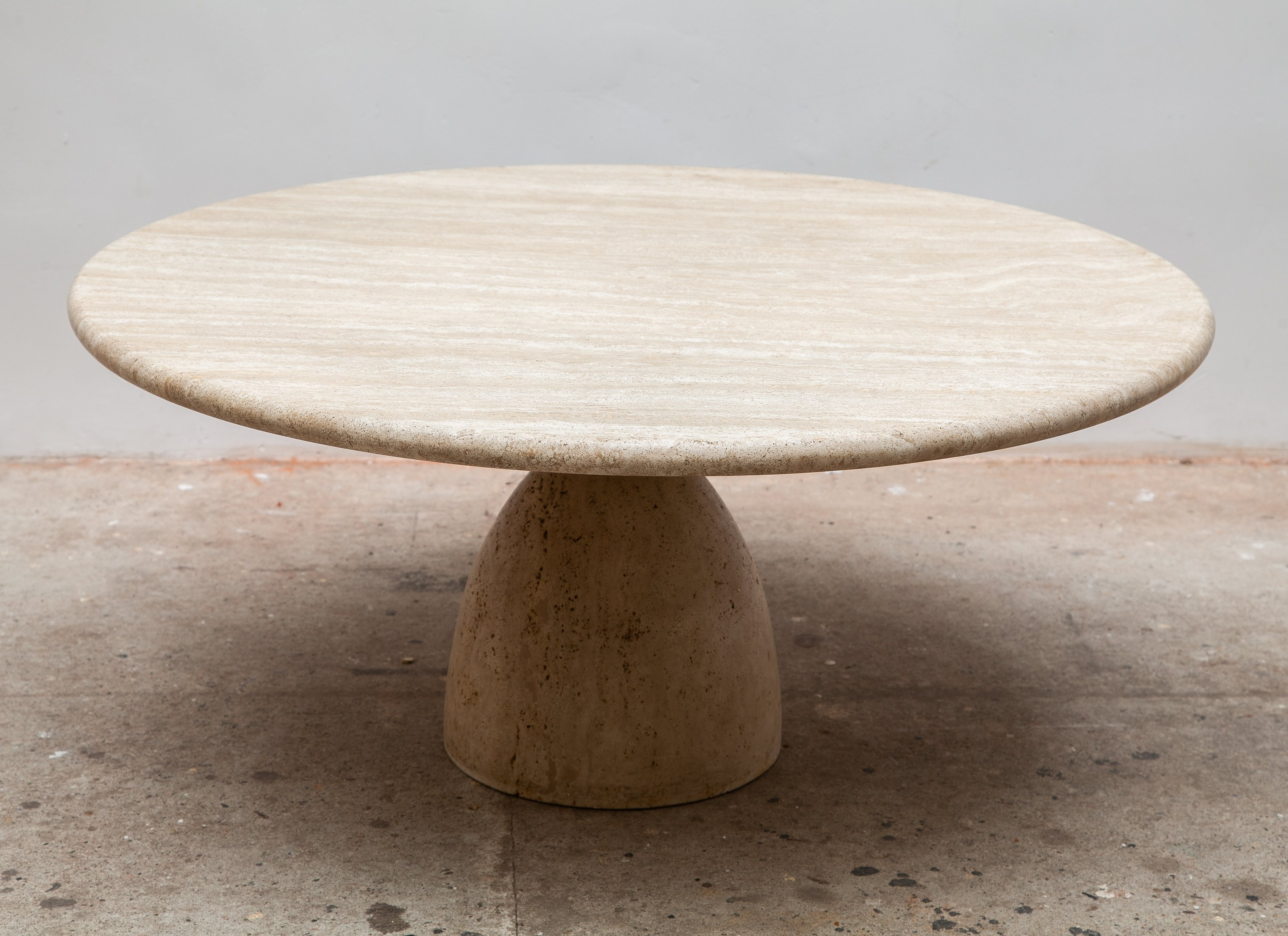 - Round Solid Travertine Pedestal Coffee Table By Peter Draenert