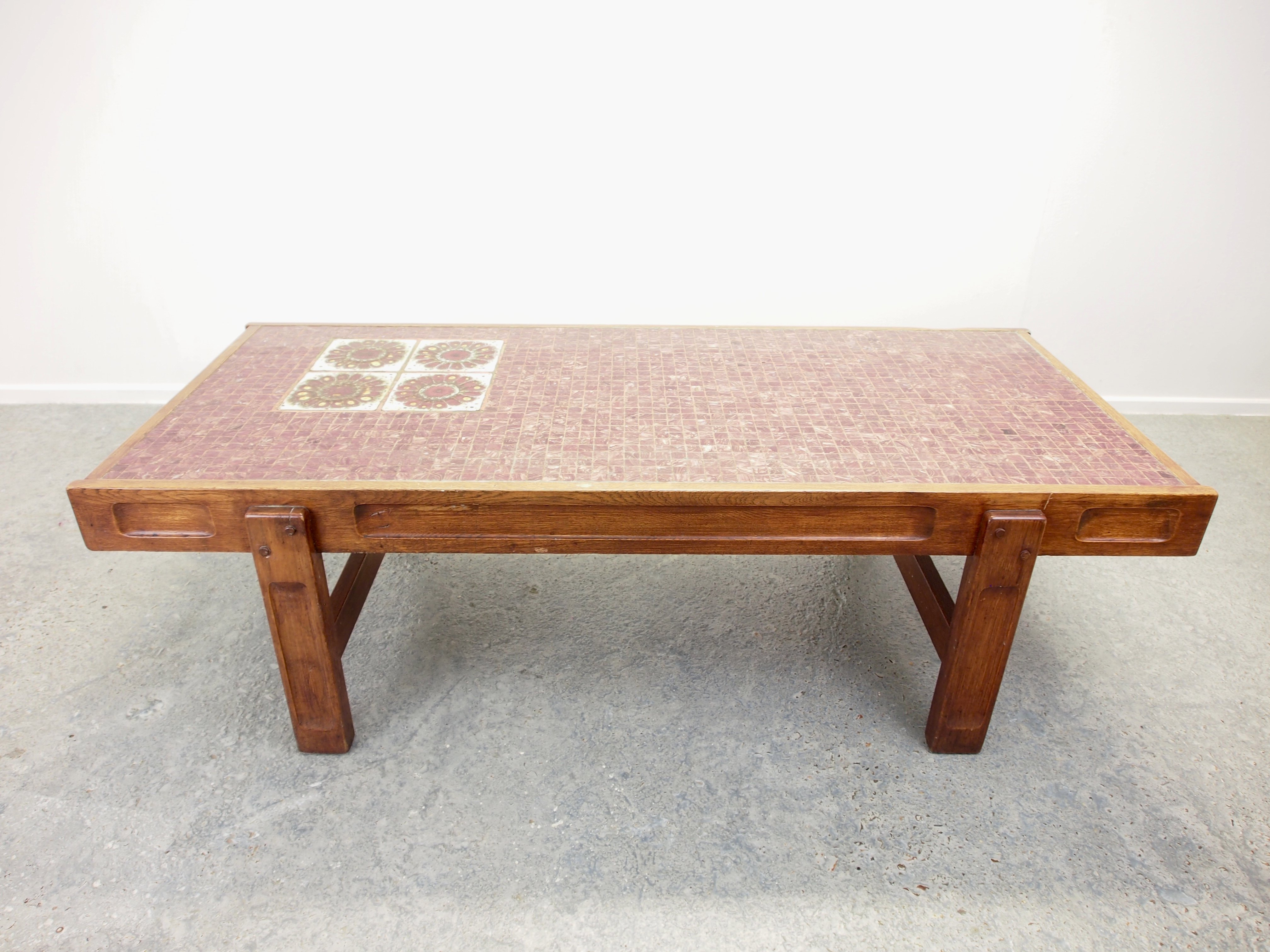Vintage Mid Century Coffee Table With Pinkred Mosaic 1970s