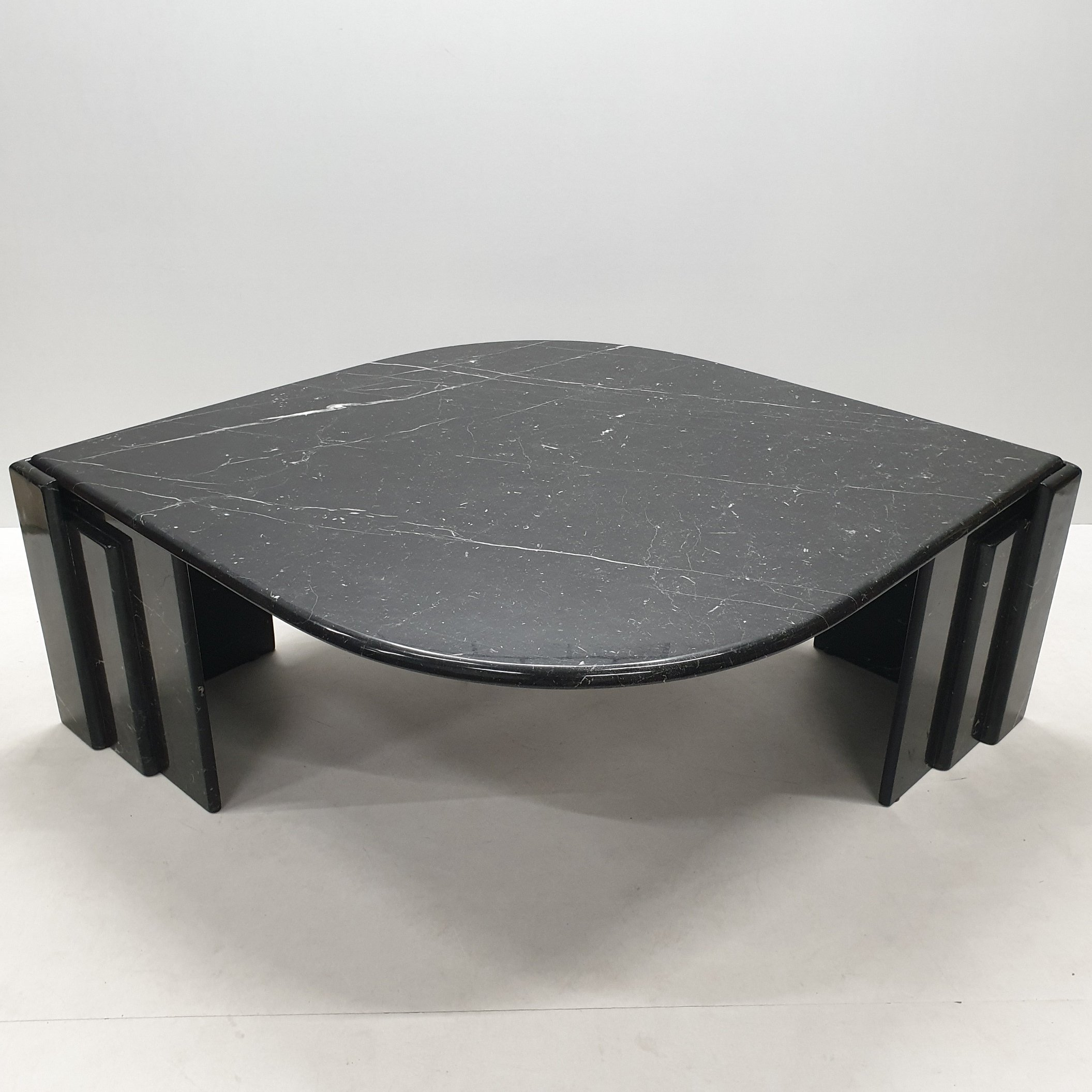 Vintage Italian Black White Marble Coffee Table 1970s 117630