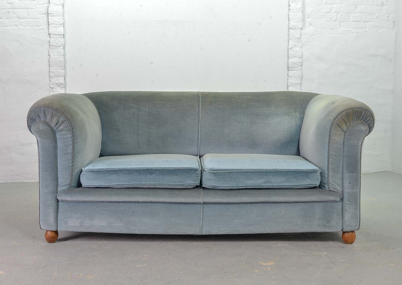 Frosted Blue Velvet Two Seat Victorian