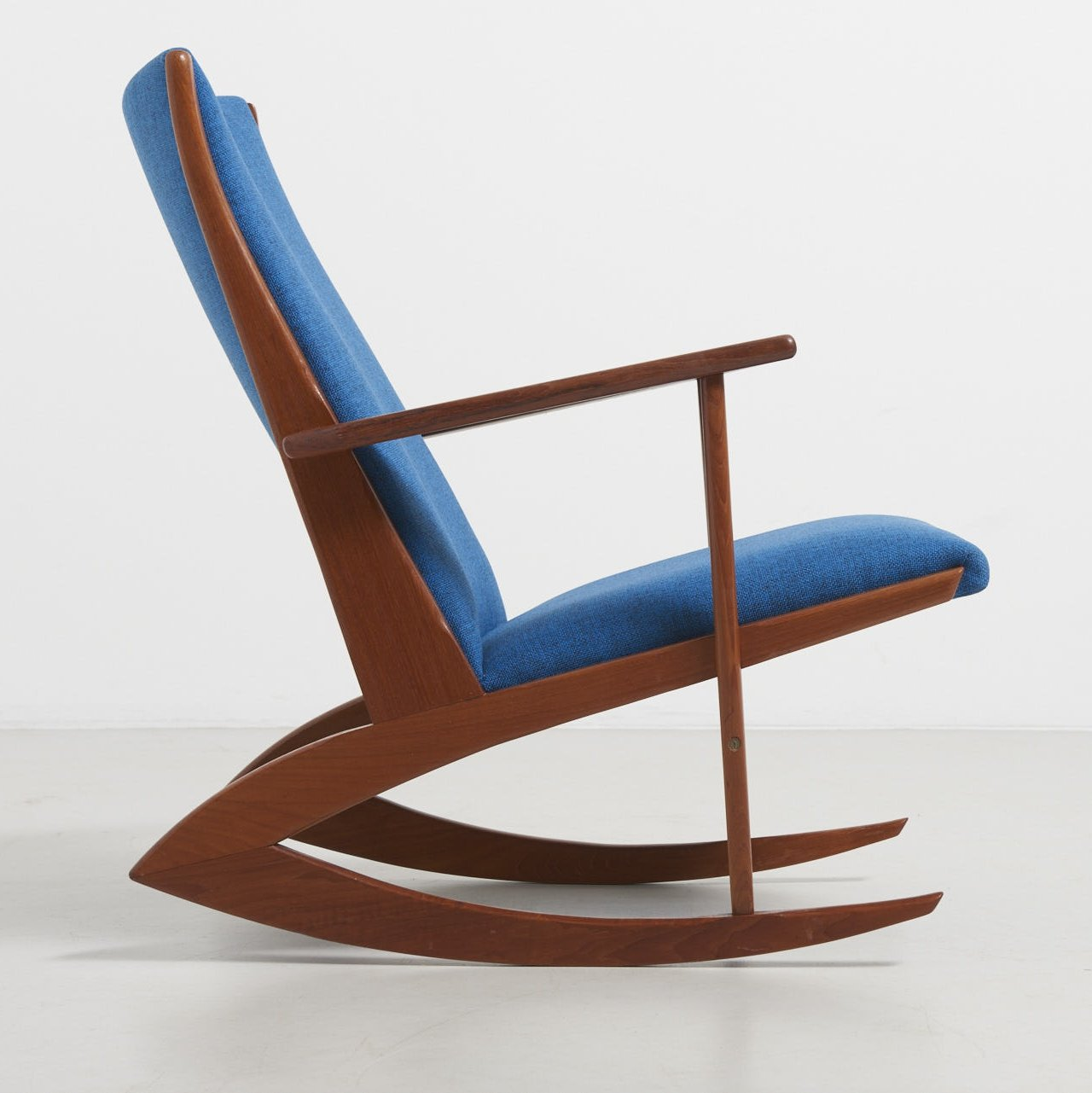 Blue Fabric Model 97 Rocking Chair By Georg Jensen 1950s