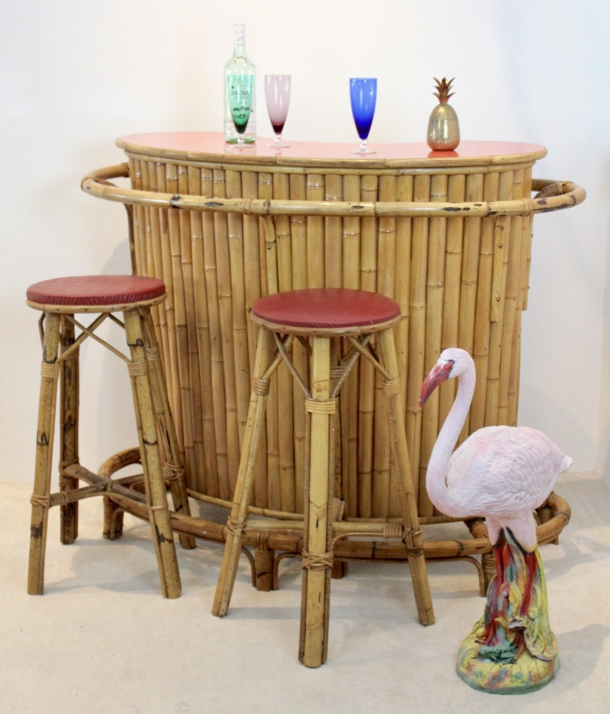 Picture of: Chic Versatile French Mid Century Rattan Bamboo Tiki Bar With Stools 118440