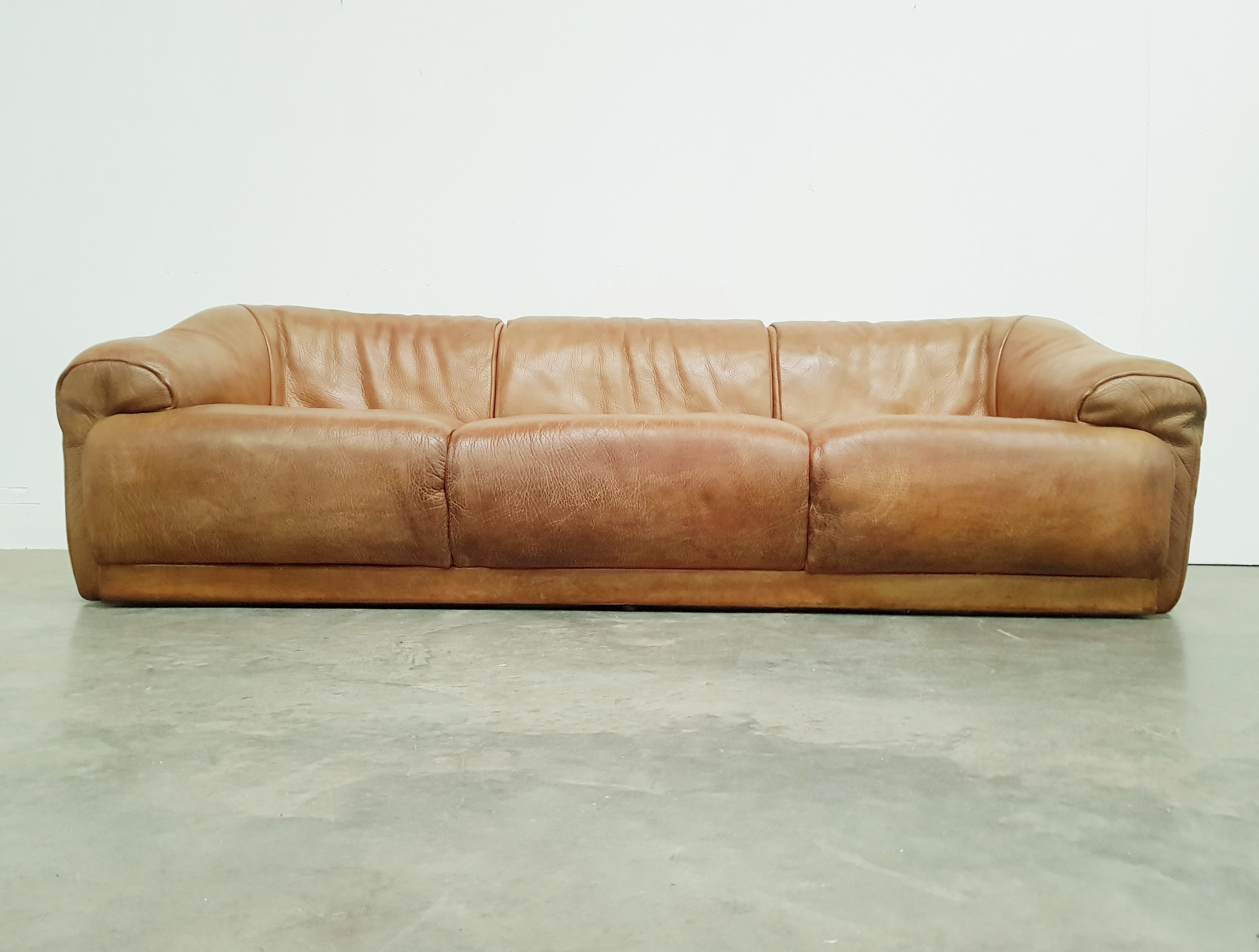 Picture of: Vintage Cognac Brown Buffalo Neck Leather Sofa 1970s 118743