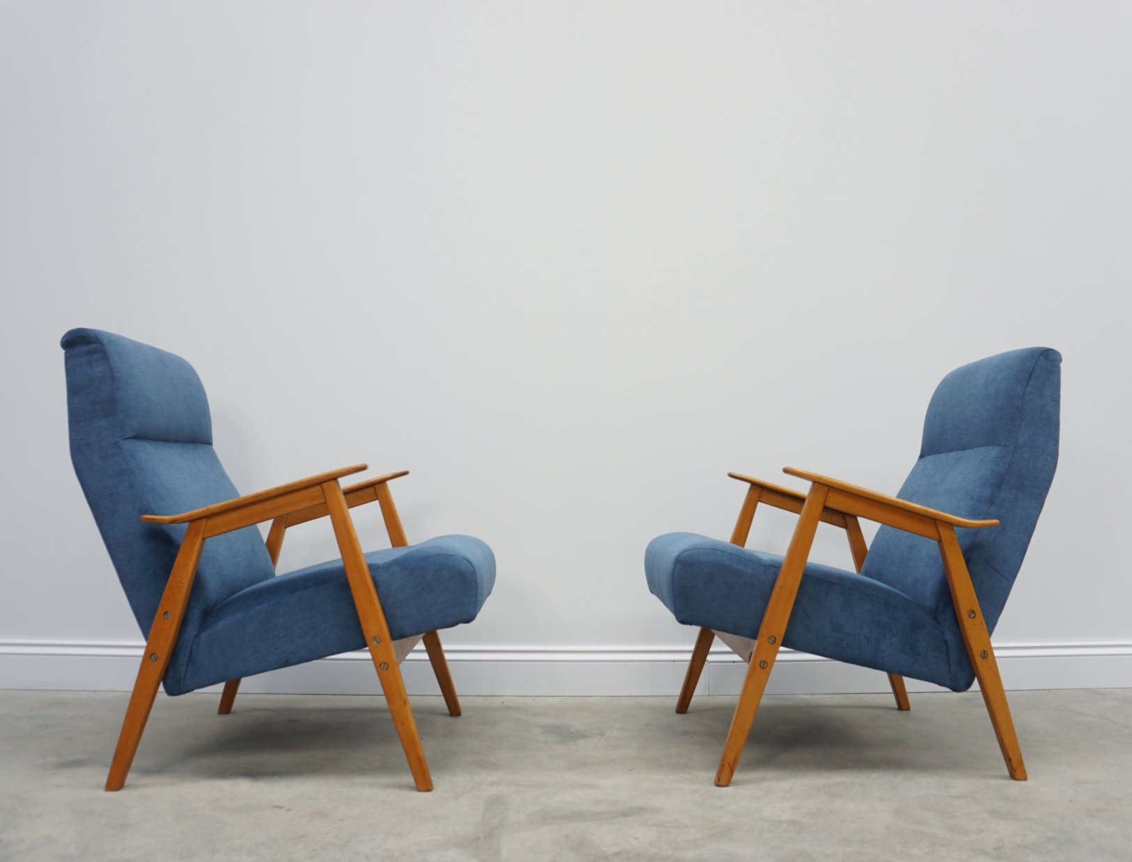 Picture of: Pair Of Blue Mid Century Easy Chairs By Interier Praha 1960 S 120169