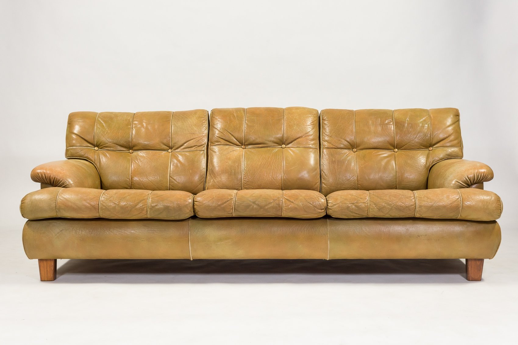 Mid Century Leather Mexico Sofa By