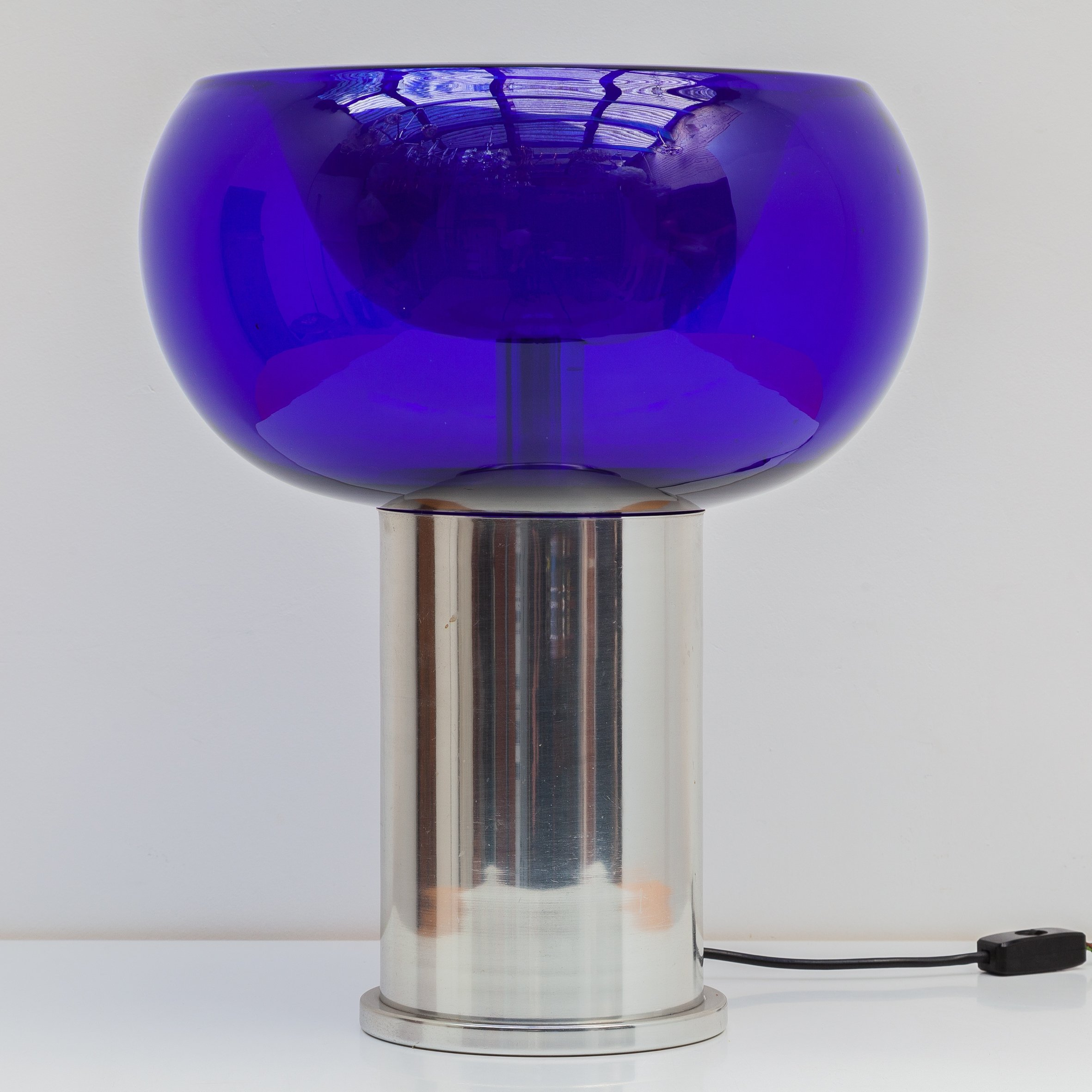Doria Table Lamp With Cobalt Blue Glass Shade Germany 1970s 120908
