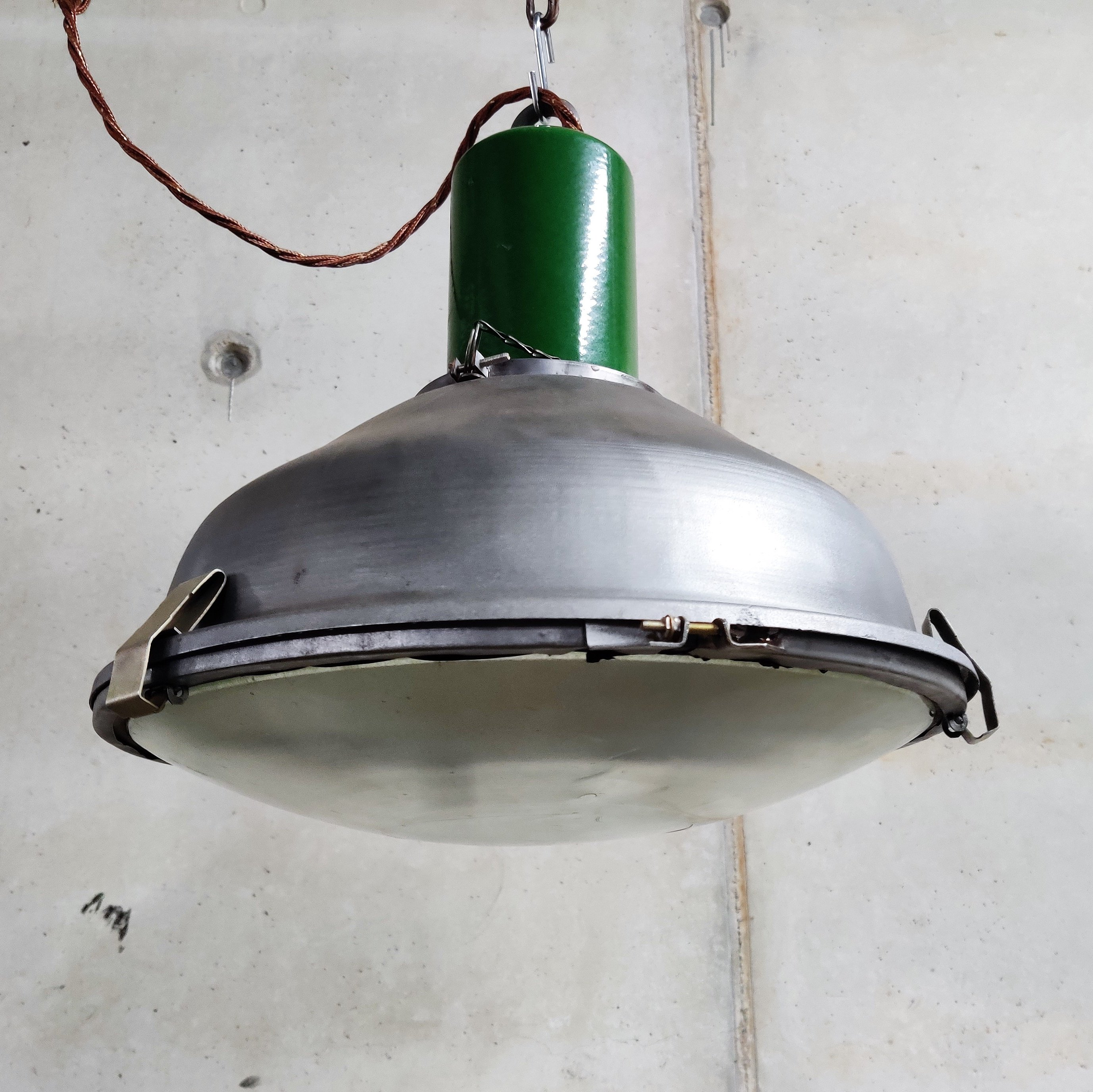 Vintage Industrial Pendant Lights With Glass 1960s 120988