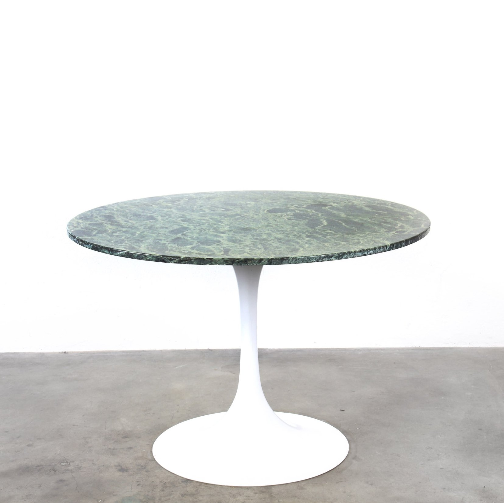 Round Dining Table With Green Marble Top On A Trumpet Shaped Foot 121460