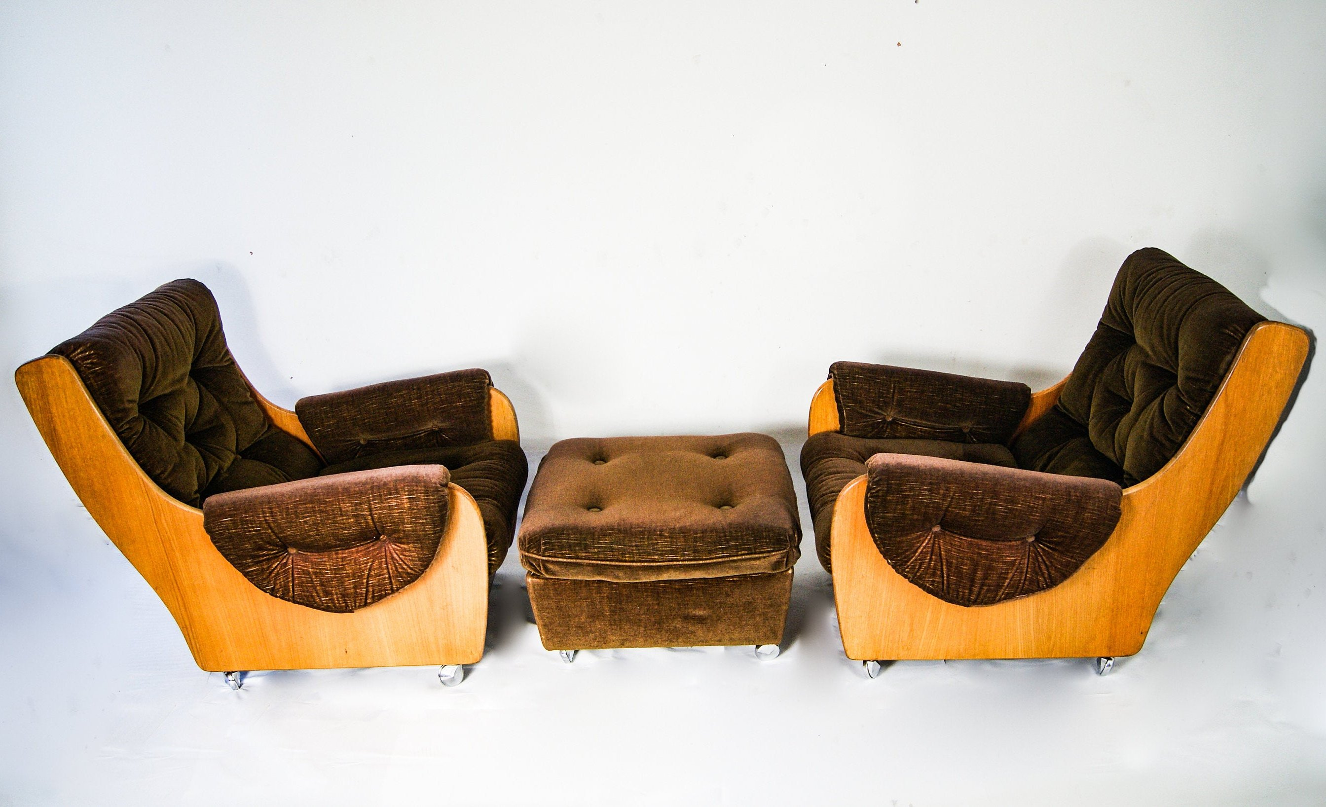 1960s Pair of G Plan Saddle Back Teak Armchairs & Footstool