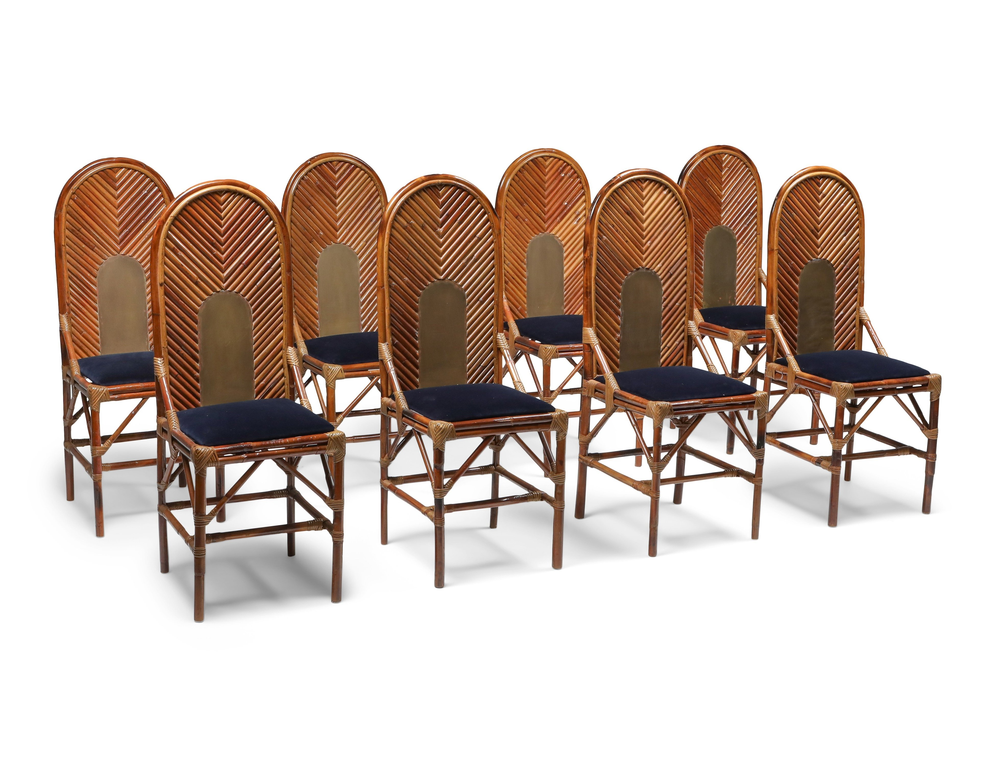 Set Of 8 Dining Chairs In Bamboo Brass Blue Velvet 1970s 122514