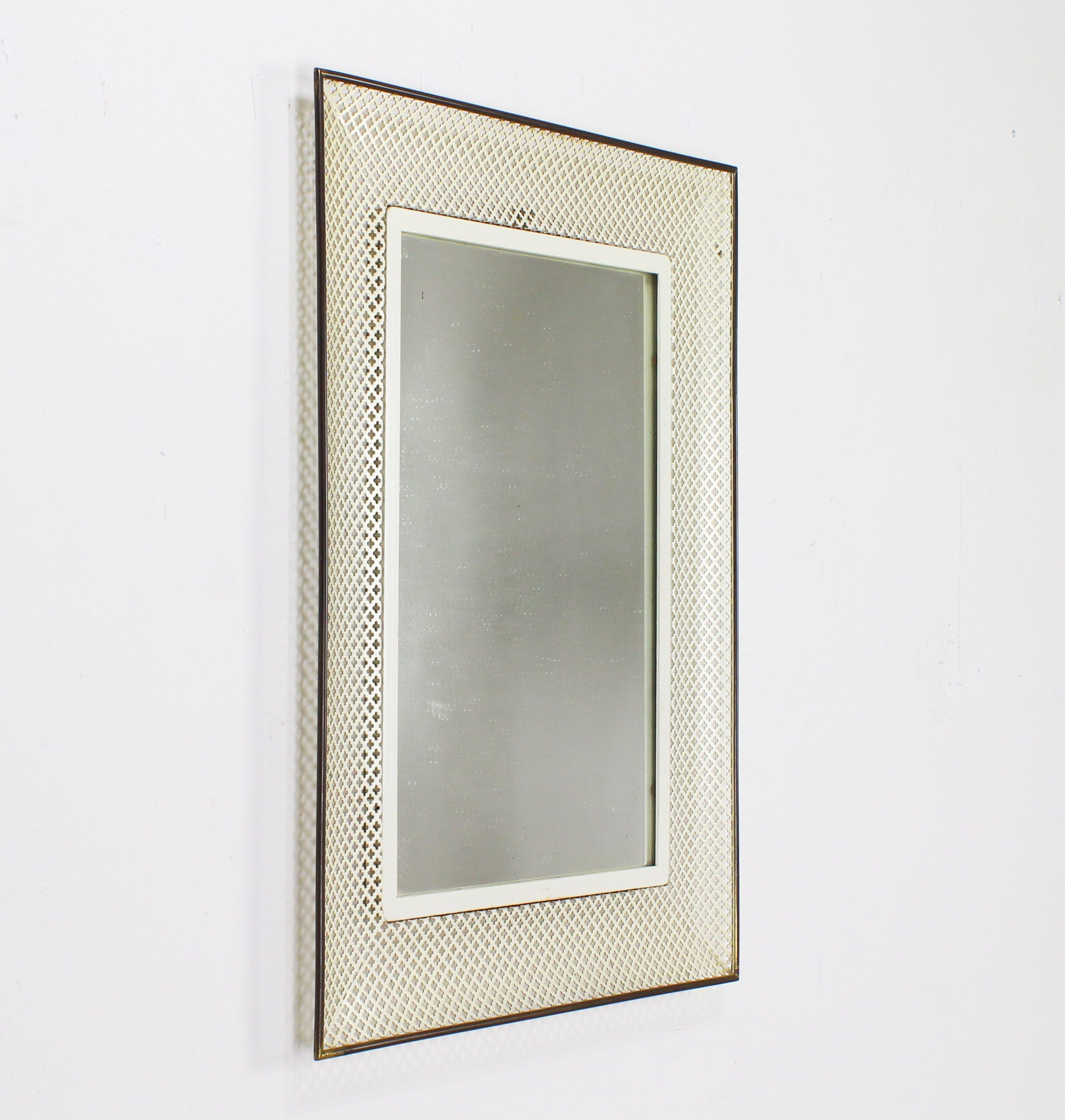 German Design Wall Mirror With Perforated Metal Frame 123175