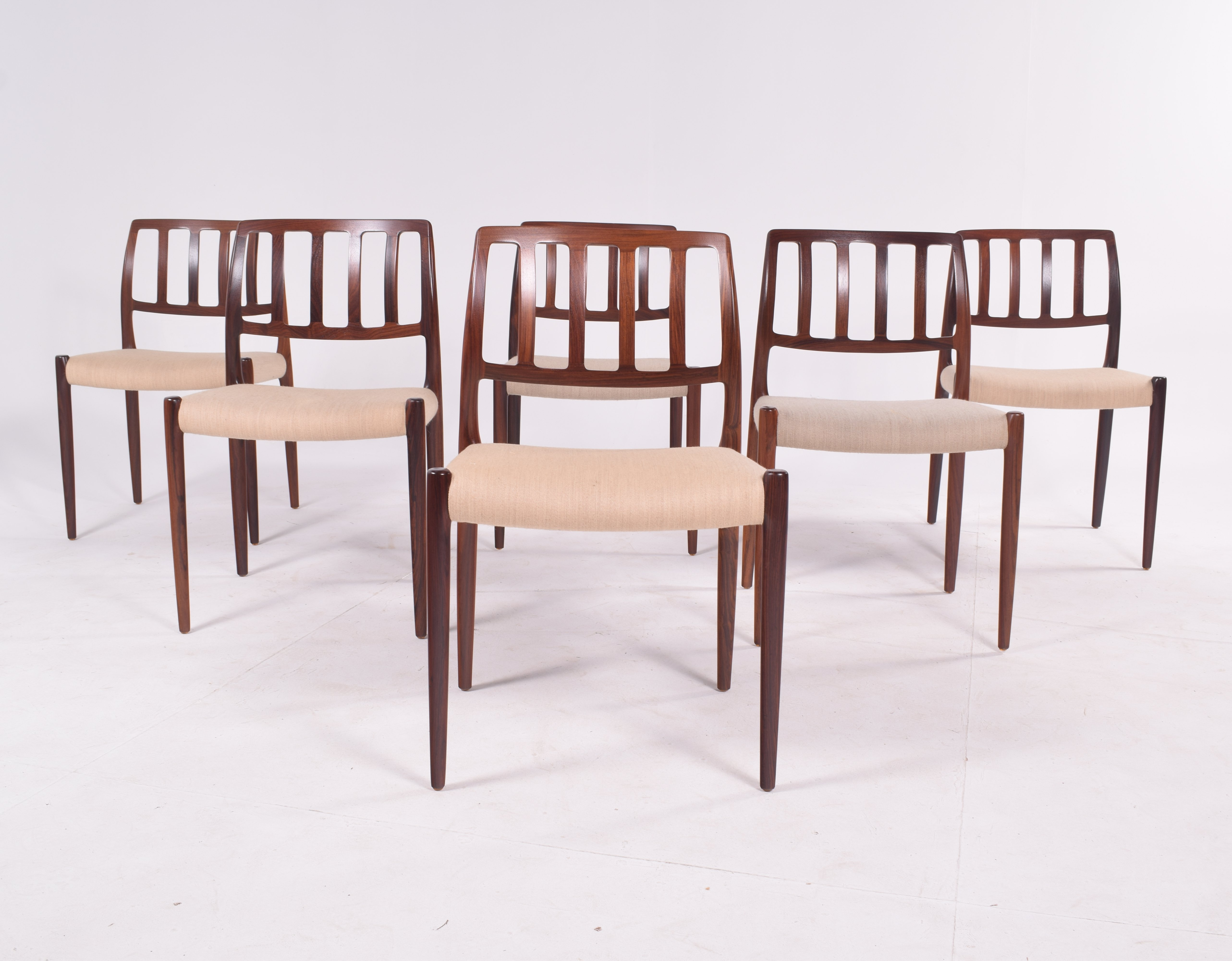 Set Of Six Niels Moller Model 83 Rosewood Dining Chairs For J L Moller 123395