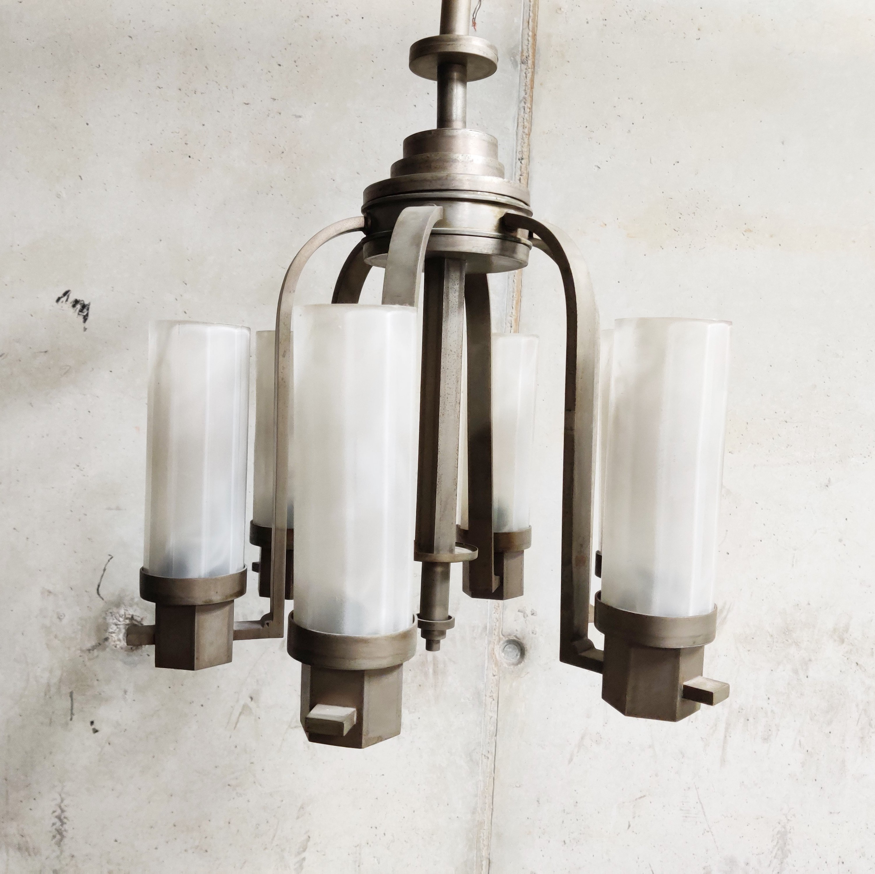 Picture of: Art Deco Chandelier With Frosted Glass Lamp Shades 1930s 123562