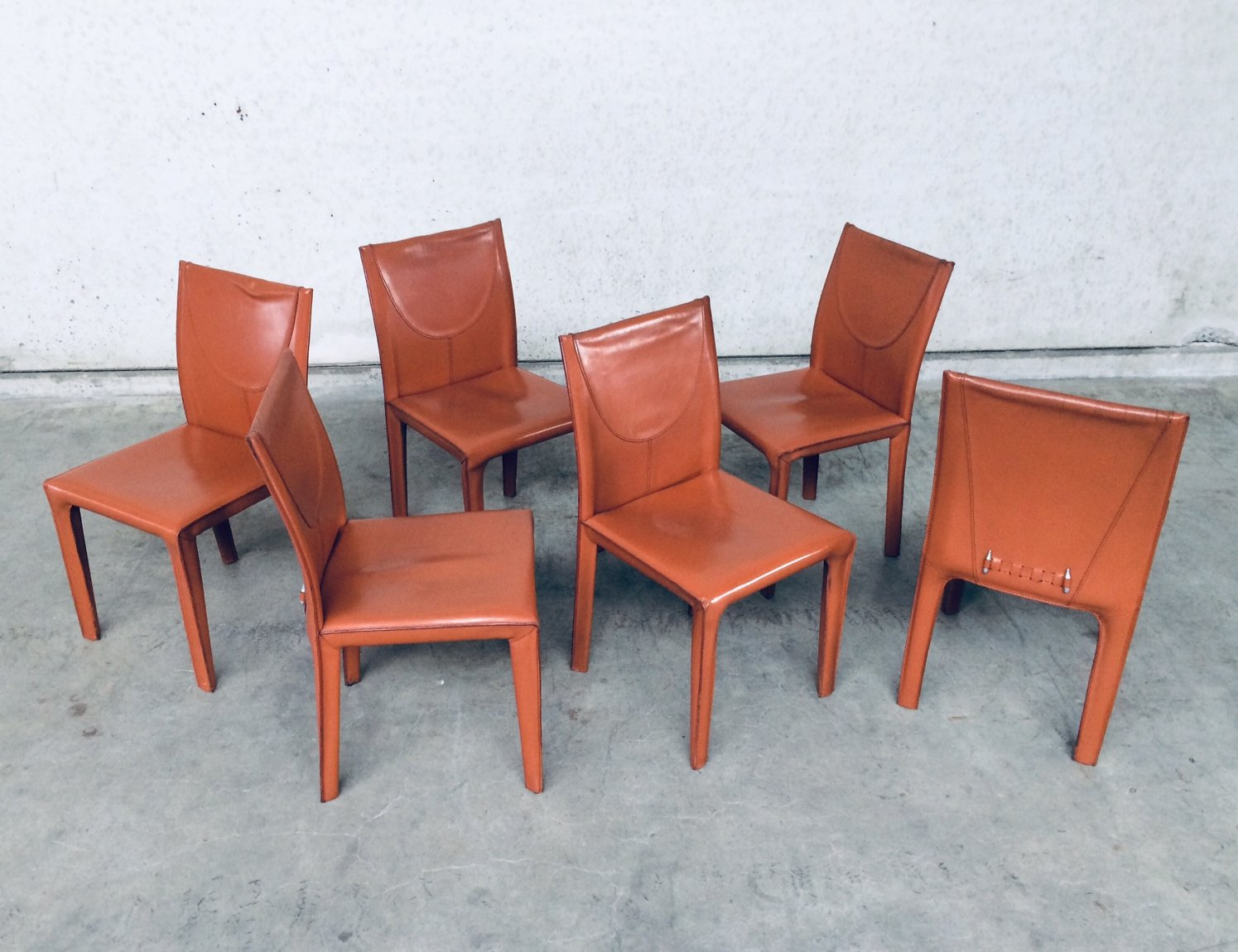 Set of 9 Leather Dining Chairs by Arper, Italy 9's   123899