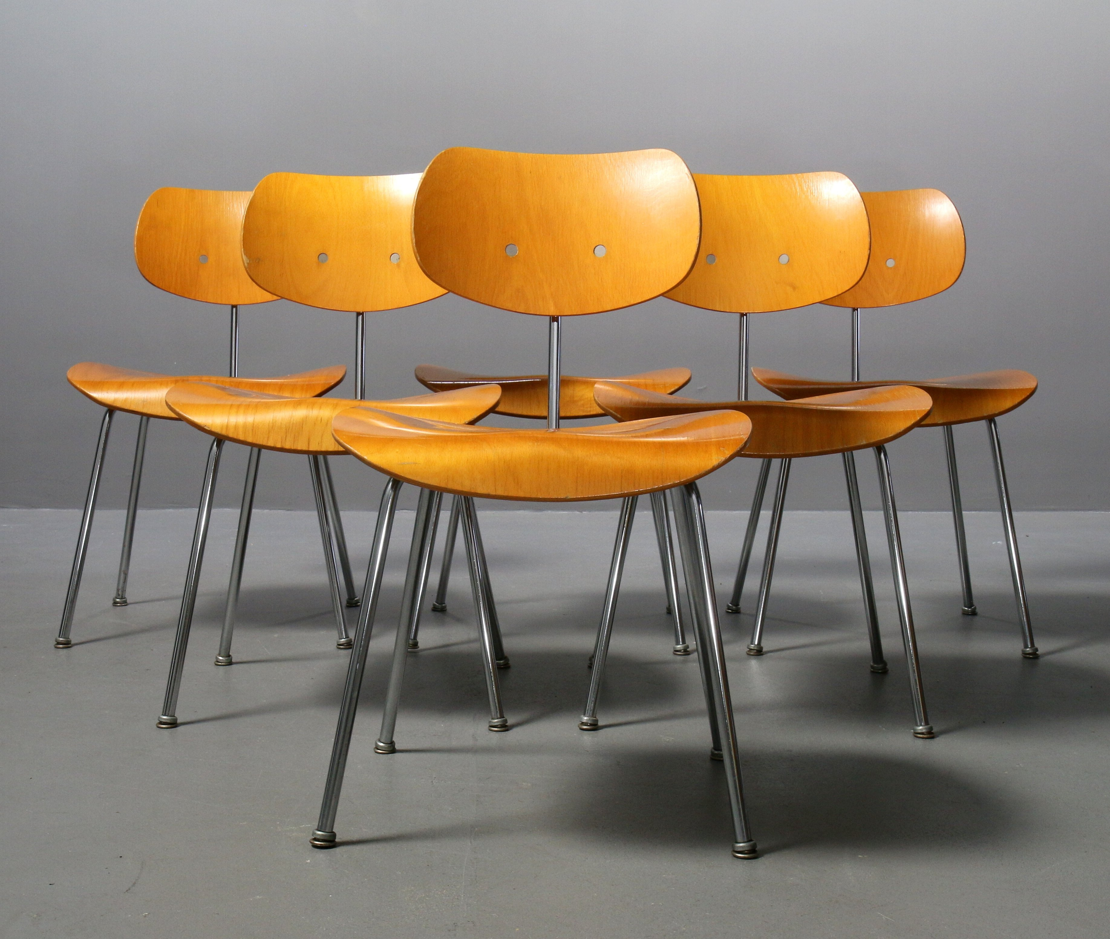6 x SE 68 dining chair by Egon Eiermann for Wilde und ...