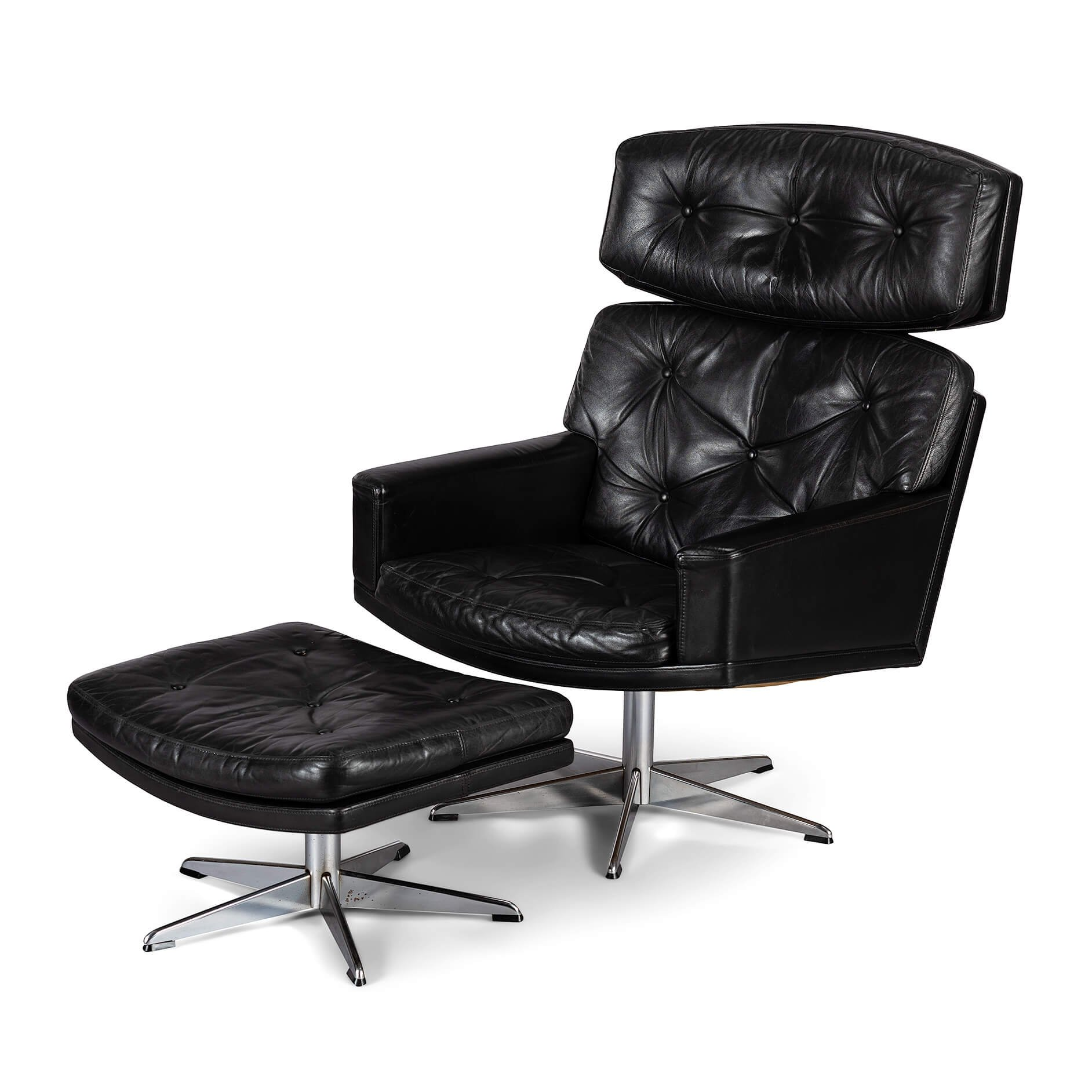 Black Leather Easy Chair With Ottoman