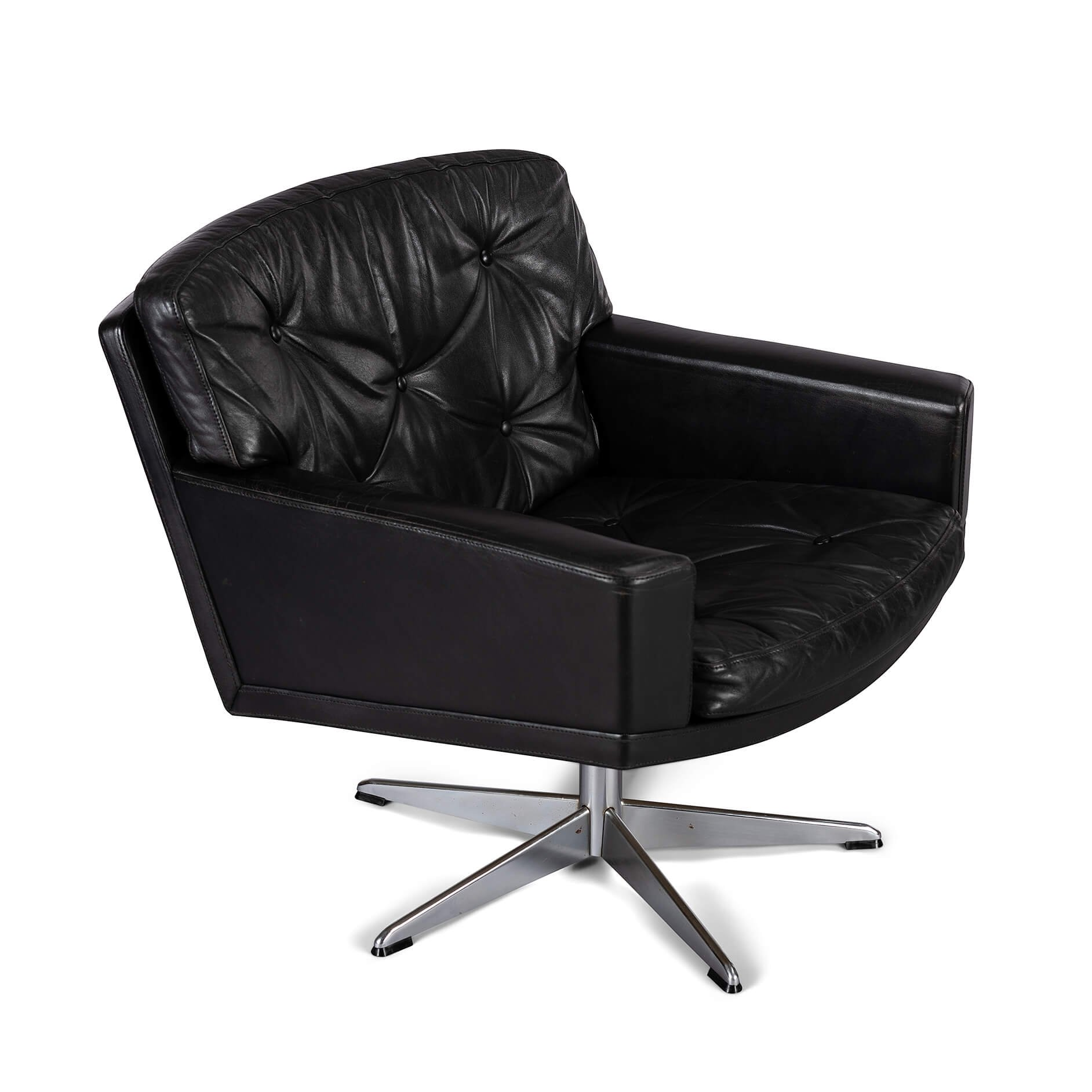 Image of: Black Leather Midcentury Modern Swivel Chair By Lystager 1960s 124125