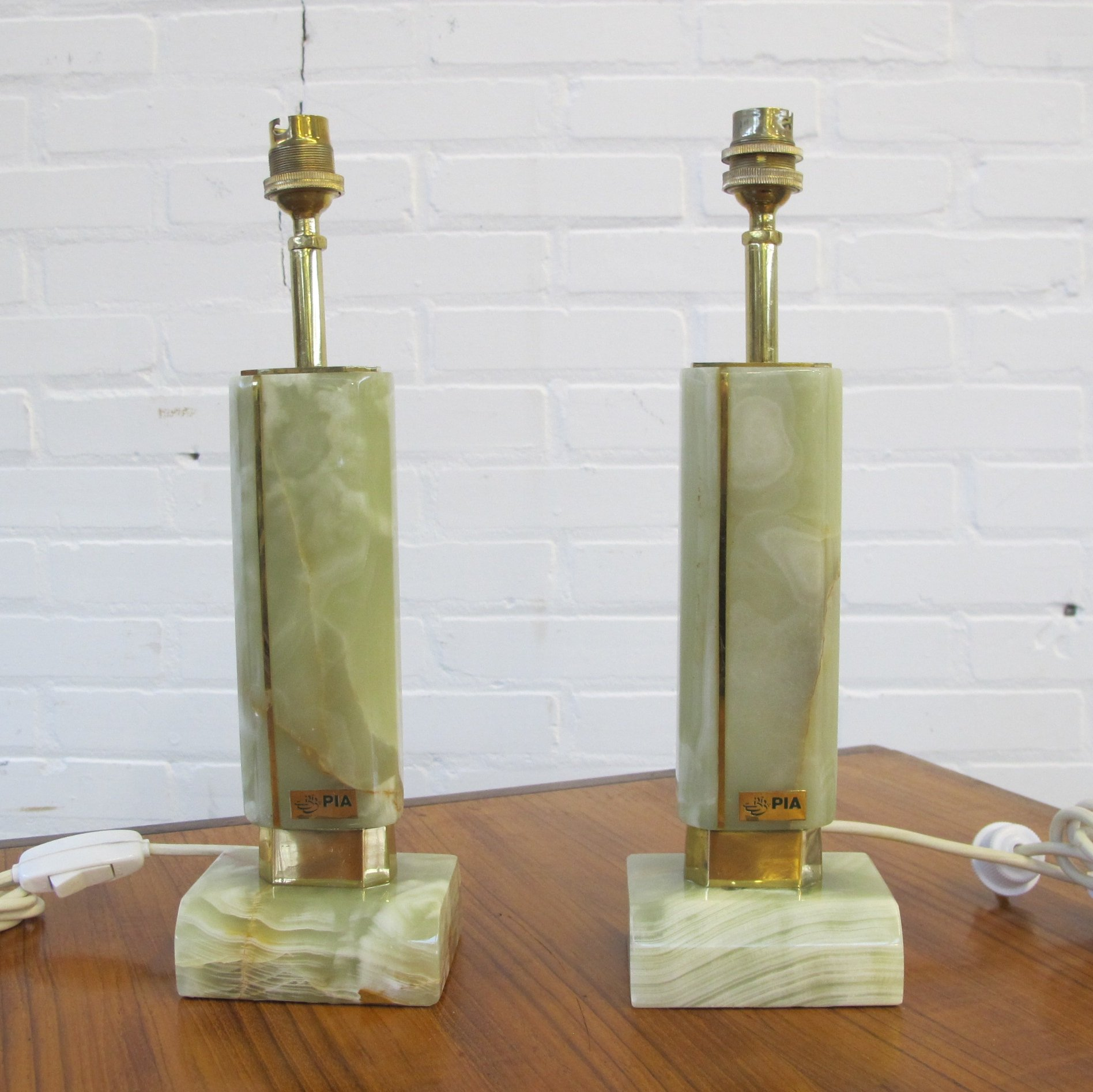Two Vintage Pia Marble Table Lamps 1970s 124420