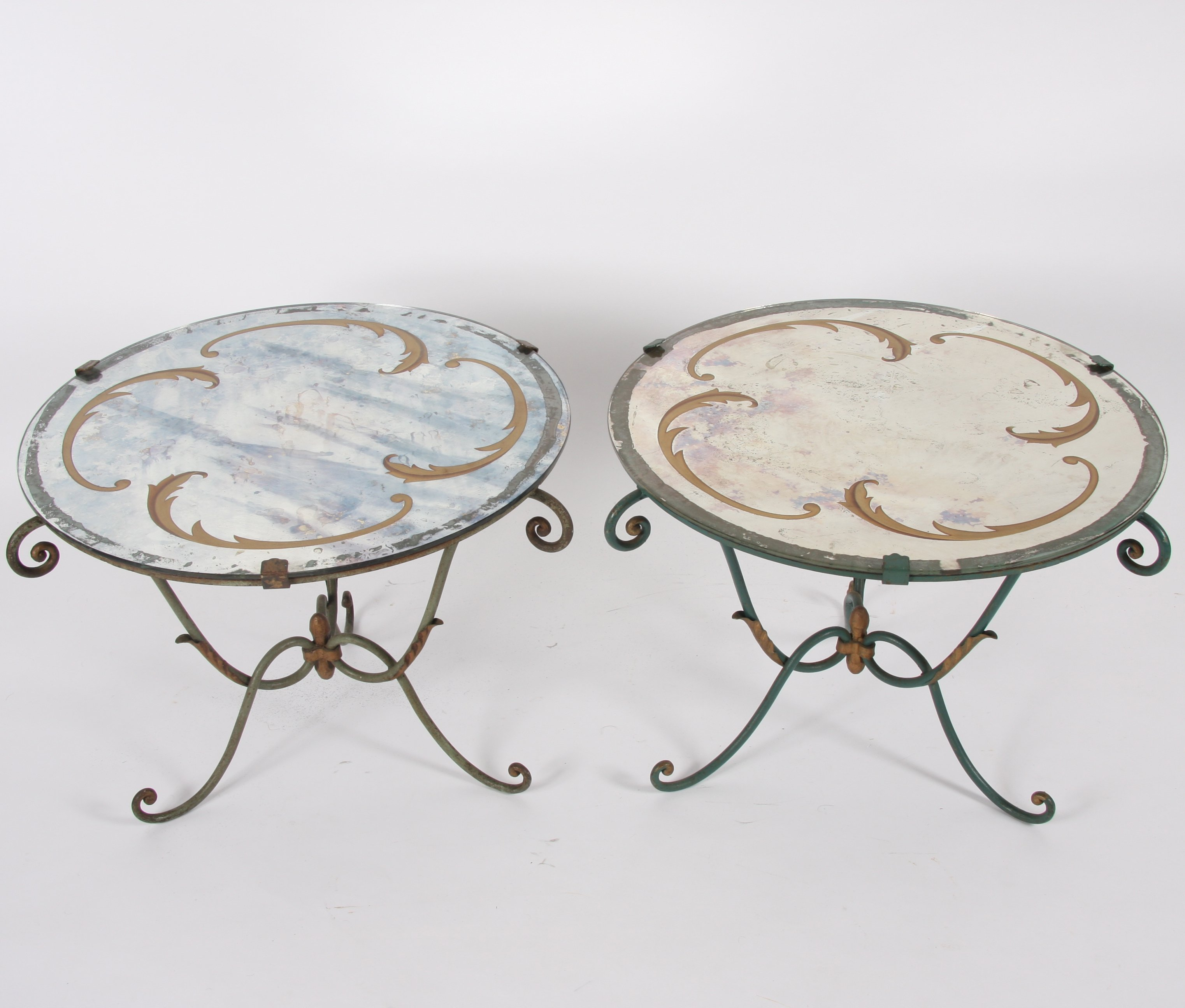 Picture of: Italian Mid Century Verre Eglomise Wrought Iron Side Tables 124582