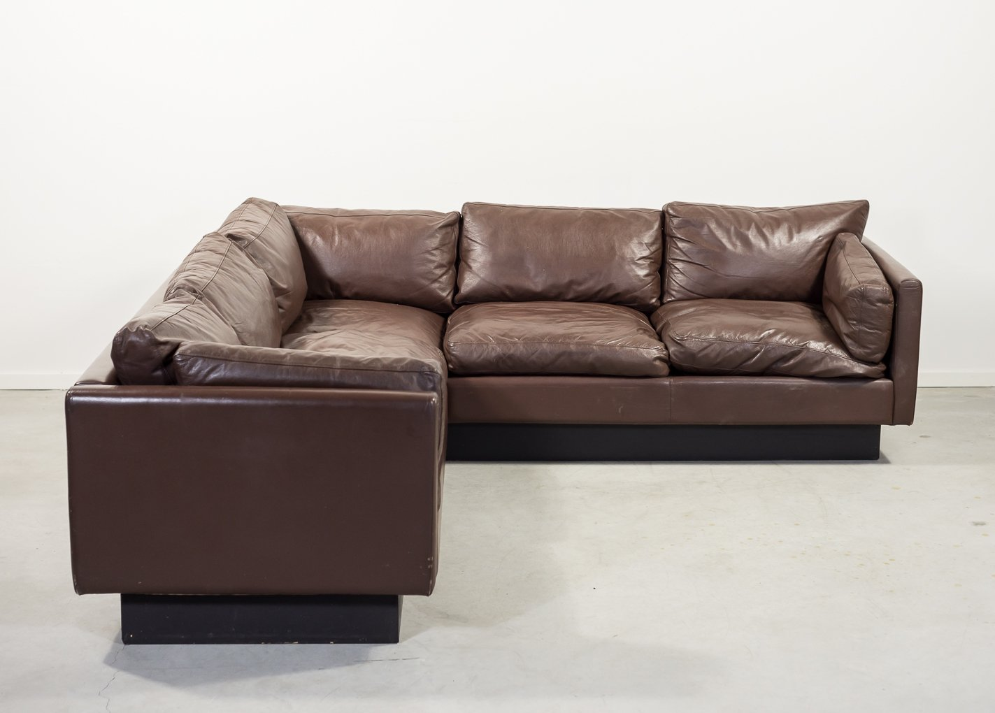 Danish Design Brown Leather Corner Sofa
