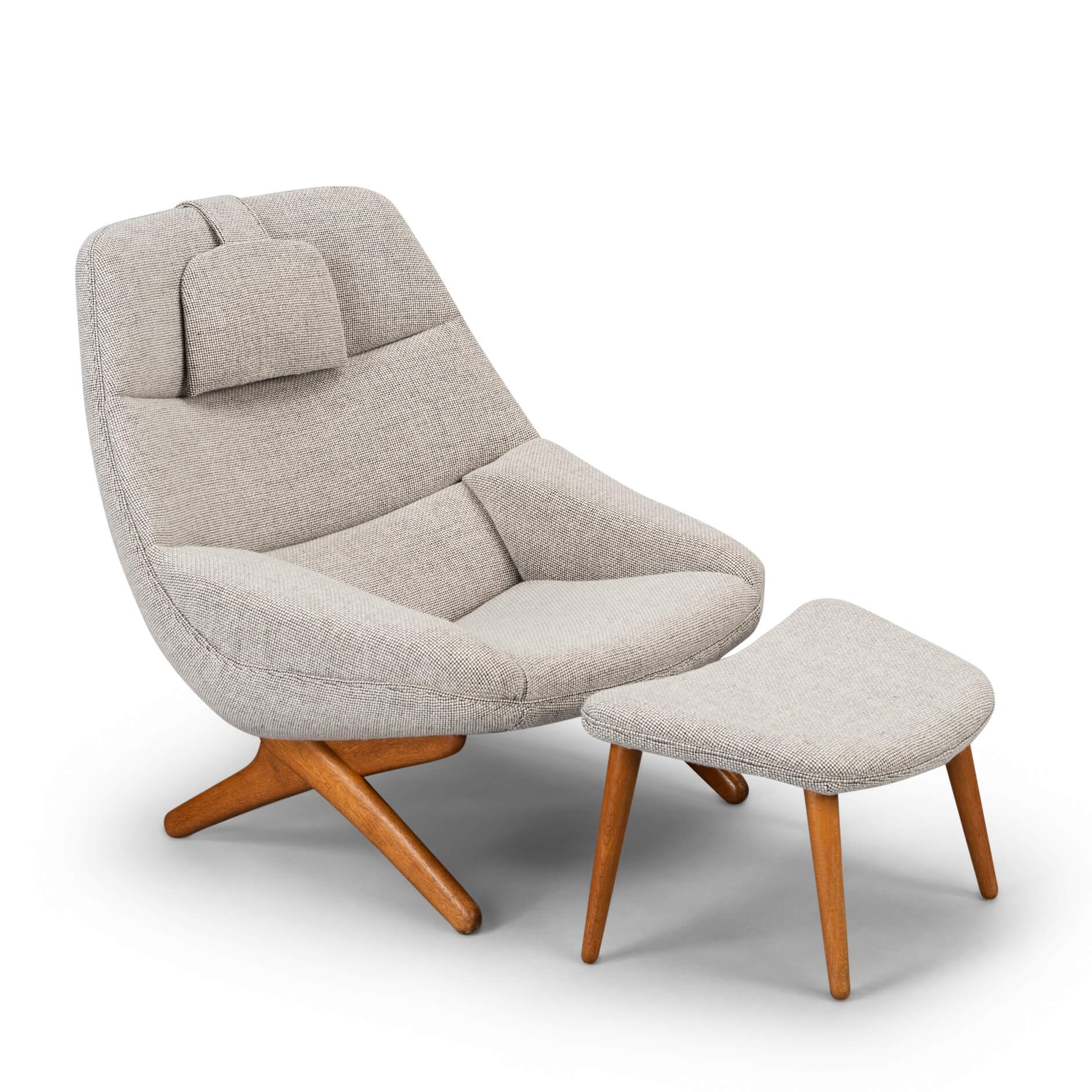 Light Grey Ml 91 Lounge Chair With Ottoman By Illum Wikkelso 1960s 125918