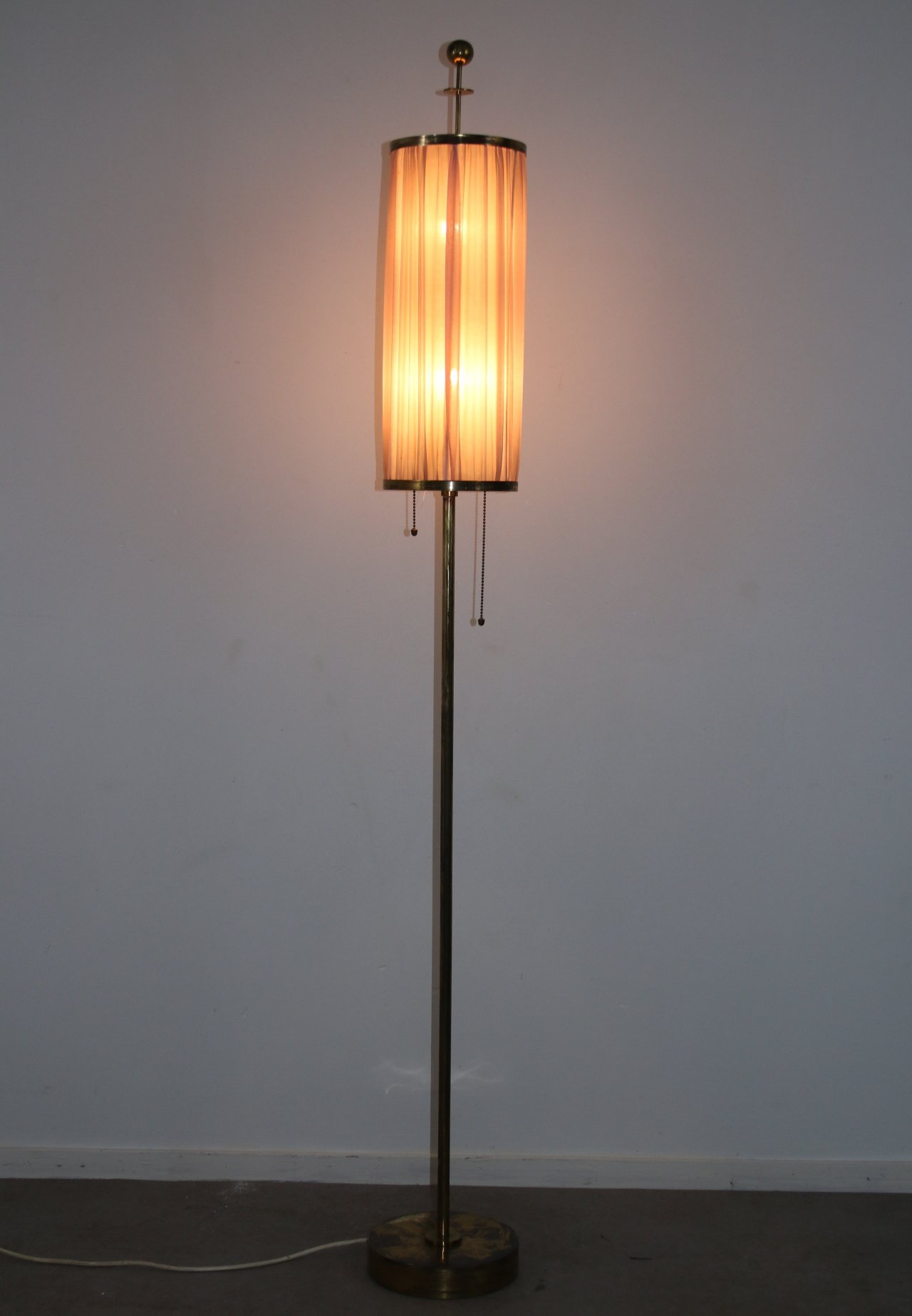 Image of: Bronze Or Brass Floor Lamp With Fabric Shade 1950s 126190