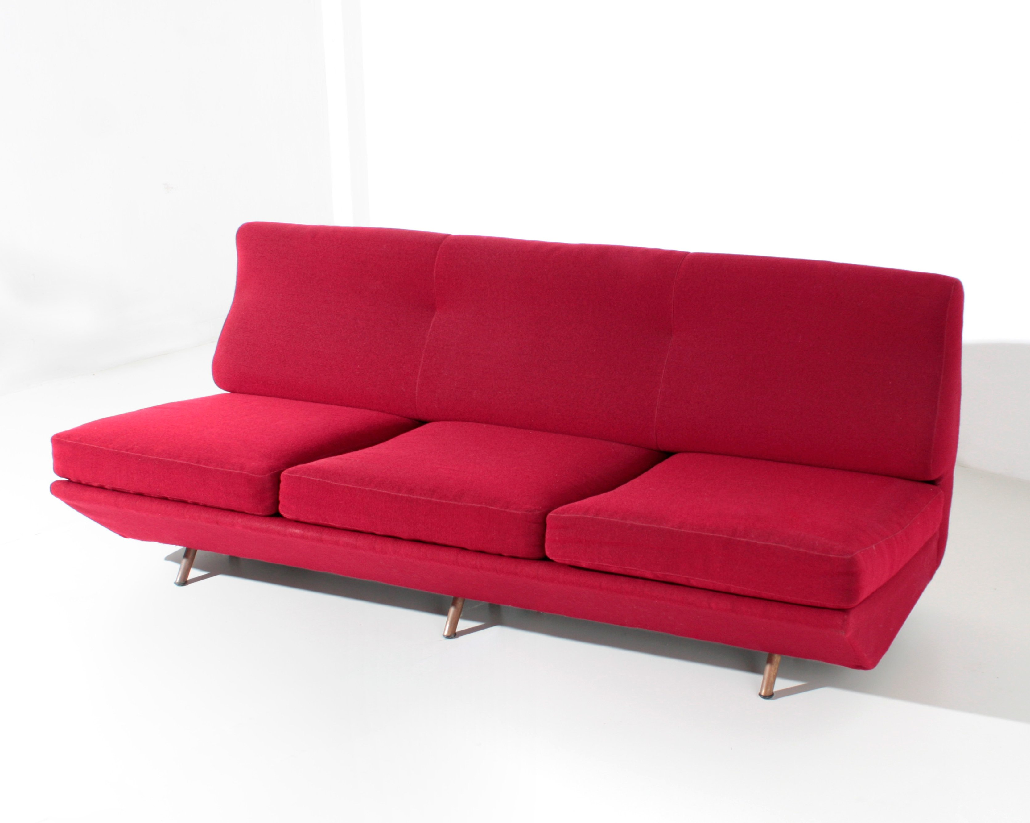 - Marco Zanuso Sleep-o-Matic MidCentury Sofa Bed In Red Fabric, 1954