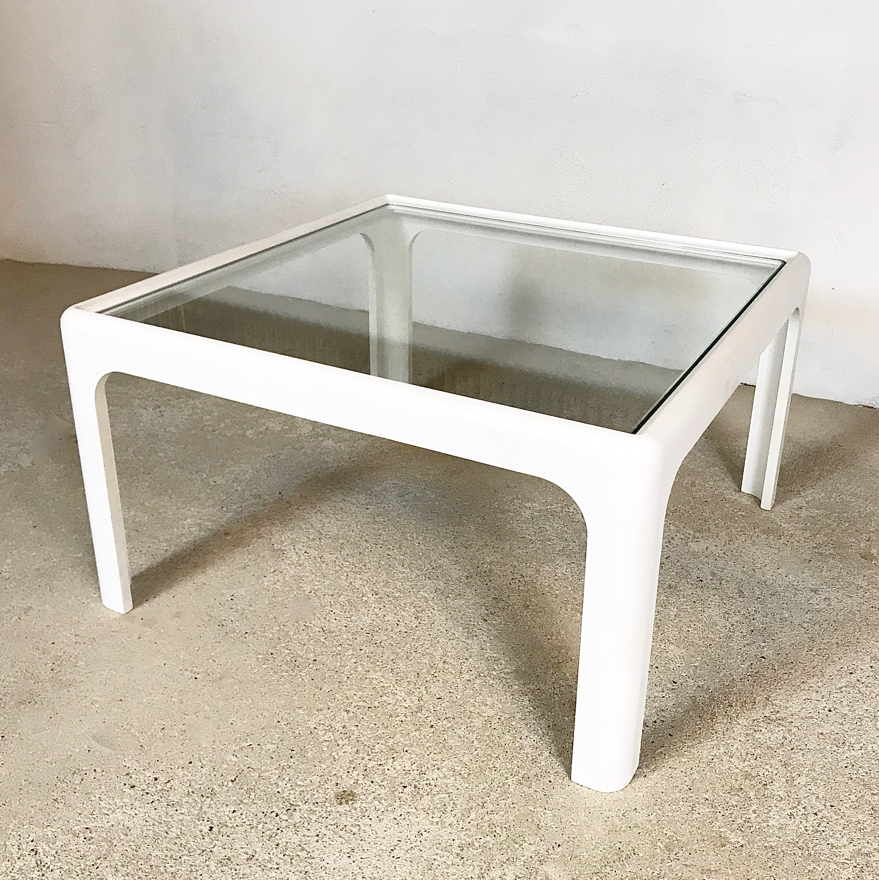- Coffee Table With Glass Top By Peter Ghyczy For Horn Collection