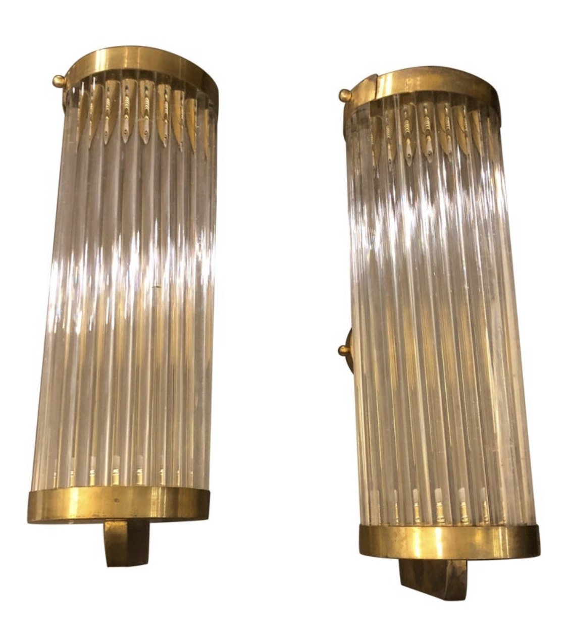 Picture of: 6 Mid Century Modern Brass Glass Italian Wall Sconces Circa 1970 127435