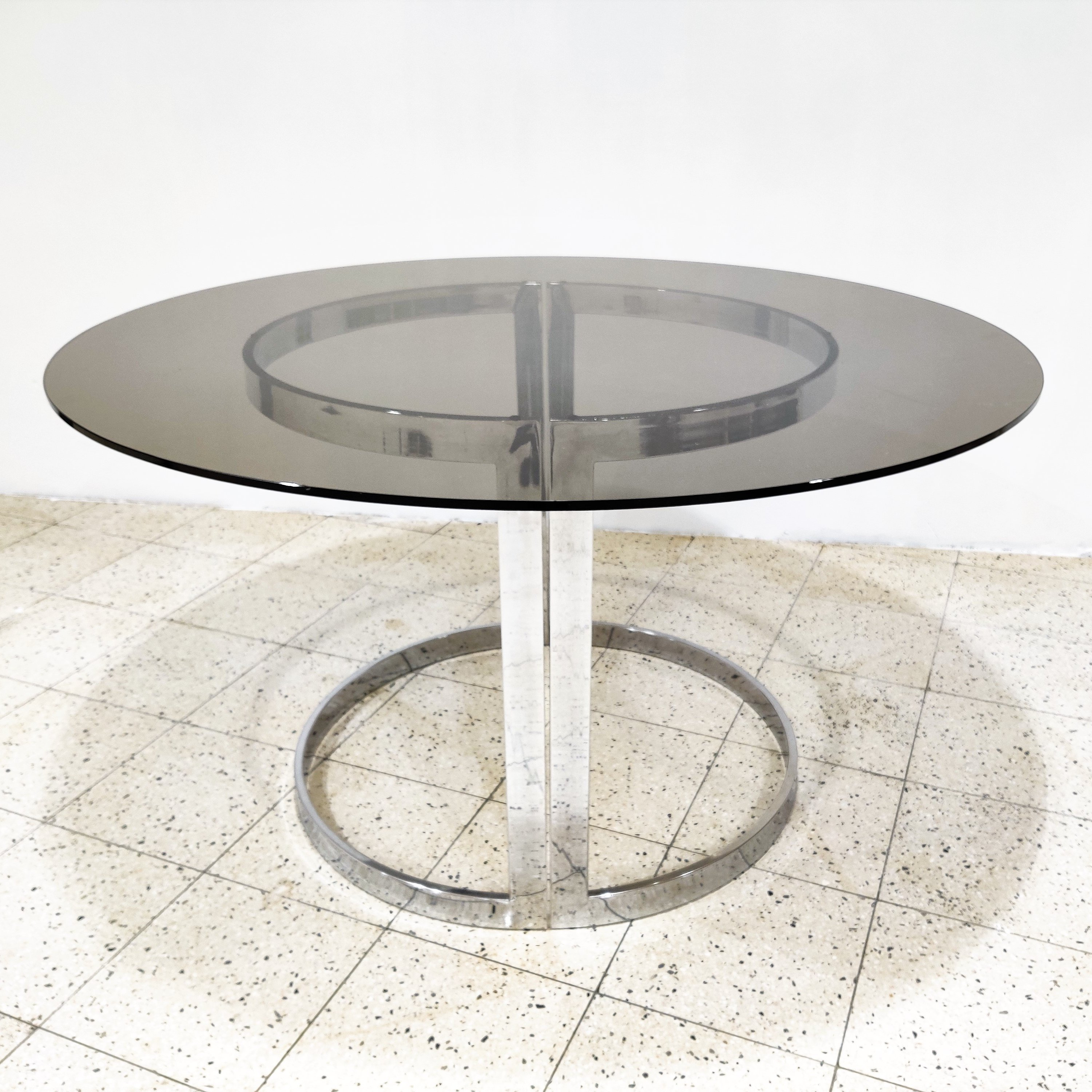 Chrome Smoked Glass Dining Table By Milo Baughman 1970s 128343