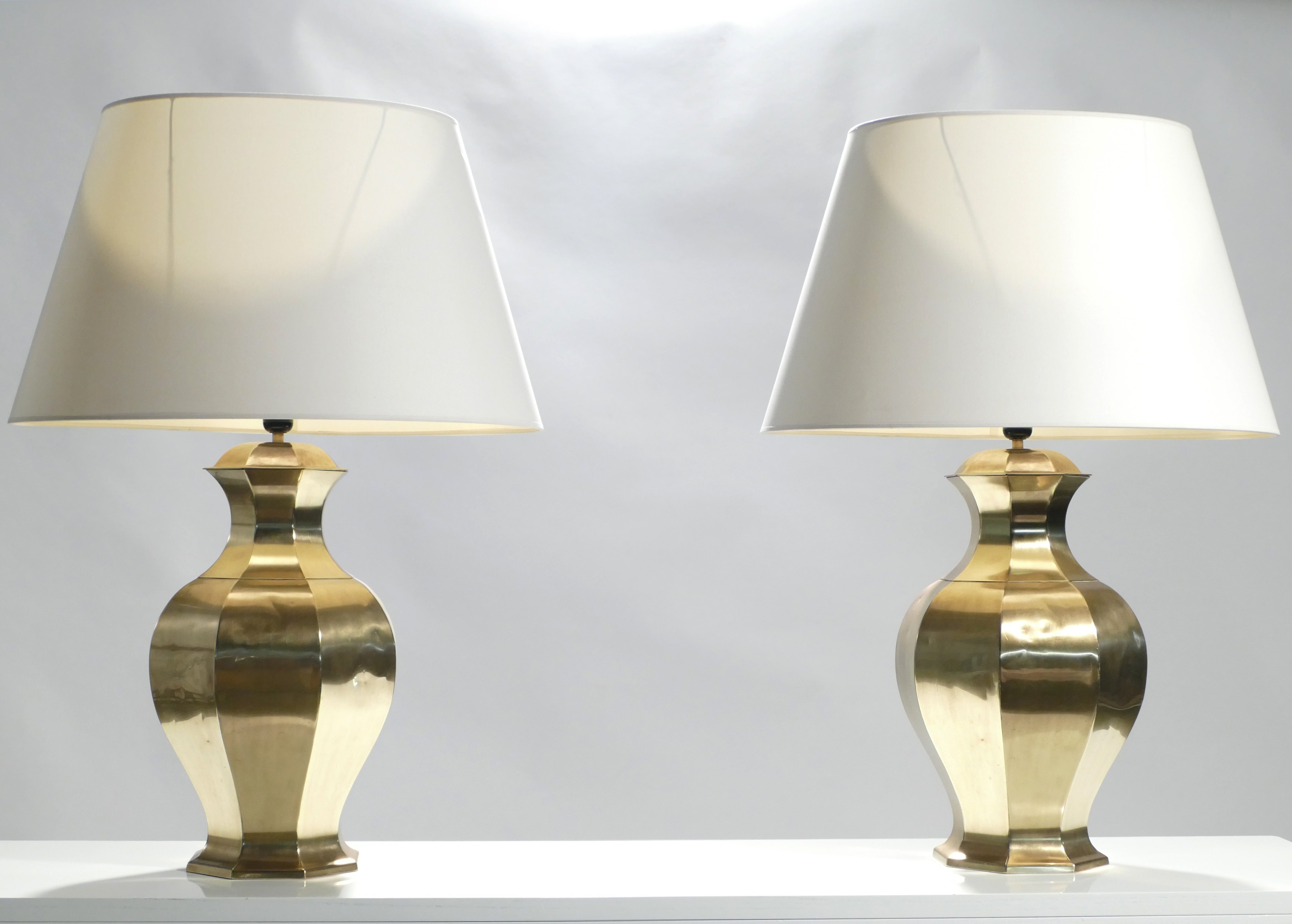 Pair Of Large French Brass Table Lamps 1970s 128426
