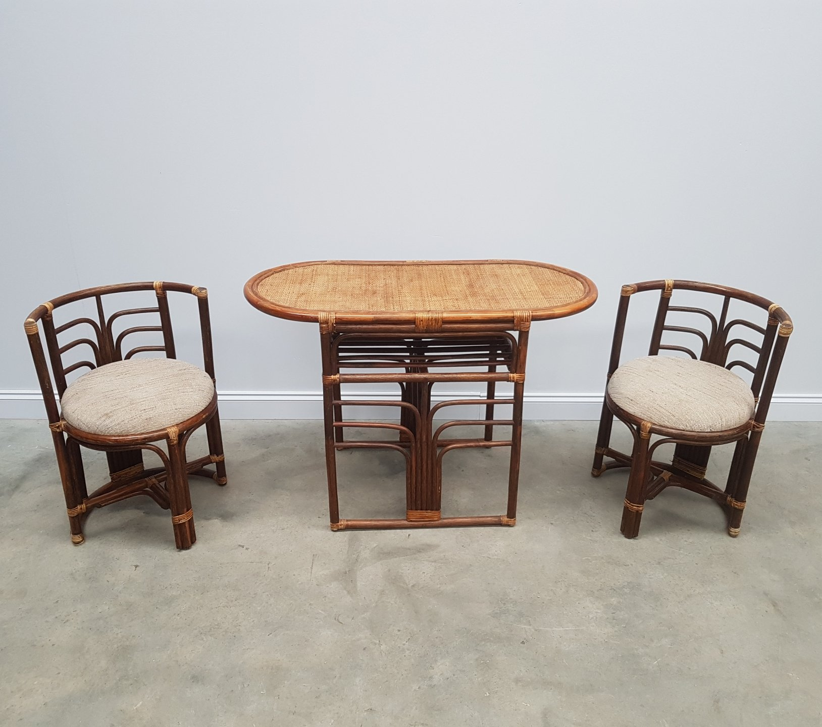 Vintage Rattan Set Of Table Chairs