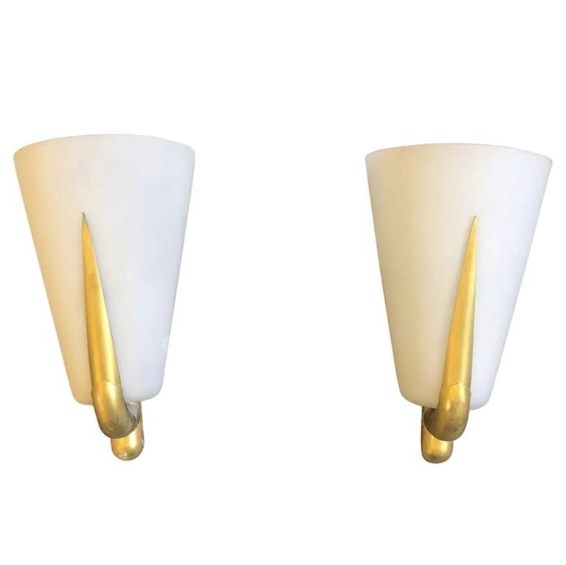 Picture of: Set Of Two Mid Century Modern Brass Glass Wall Sconces 1950 128742