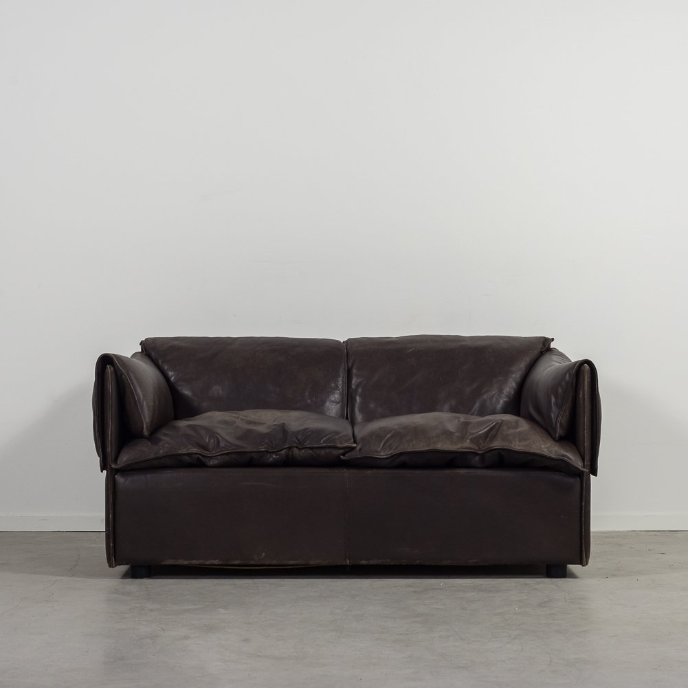 Modern Brown Leather Two Seats Sofa By