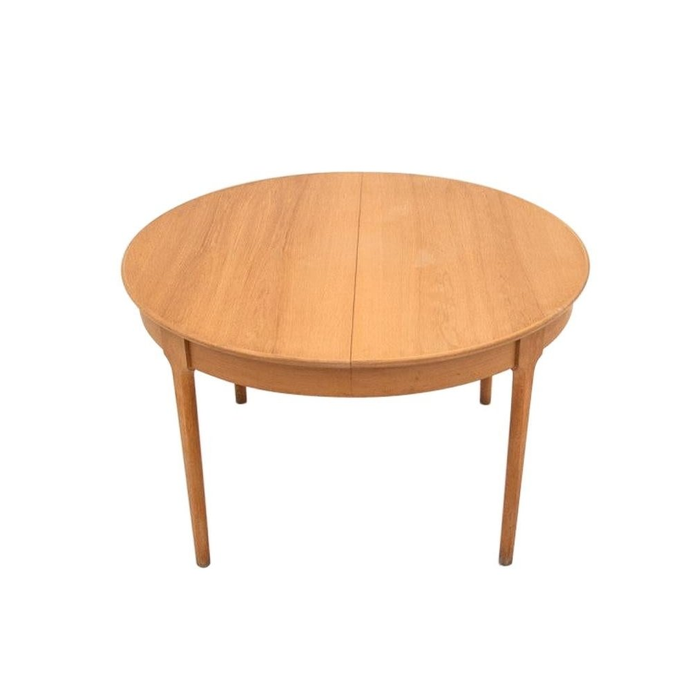 Oak Round Extendable Dining Table Danish Design 1960s 129050
