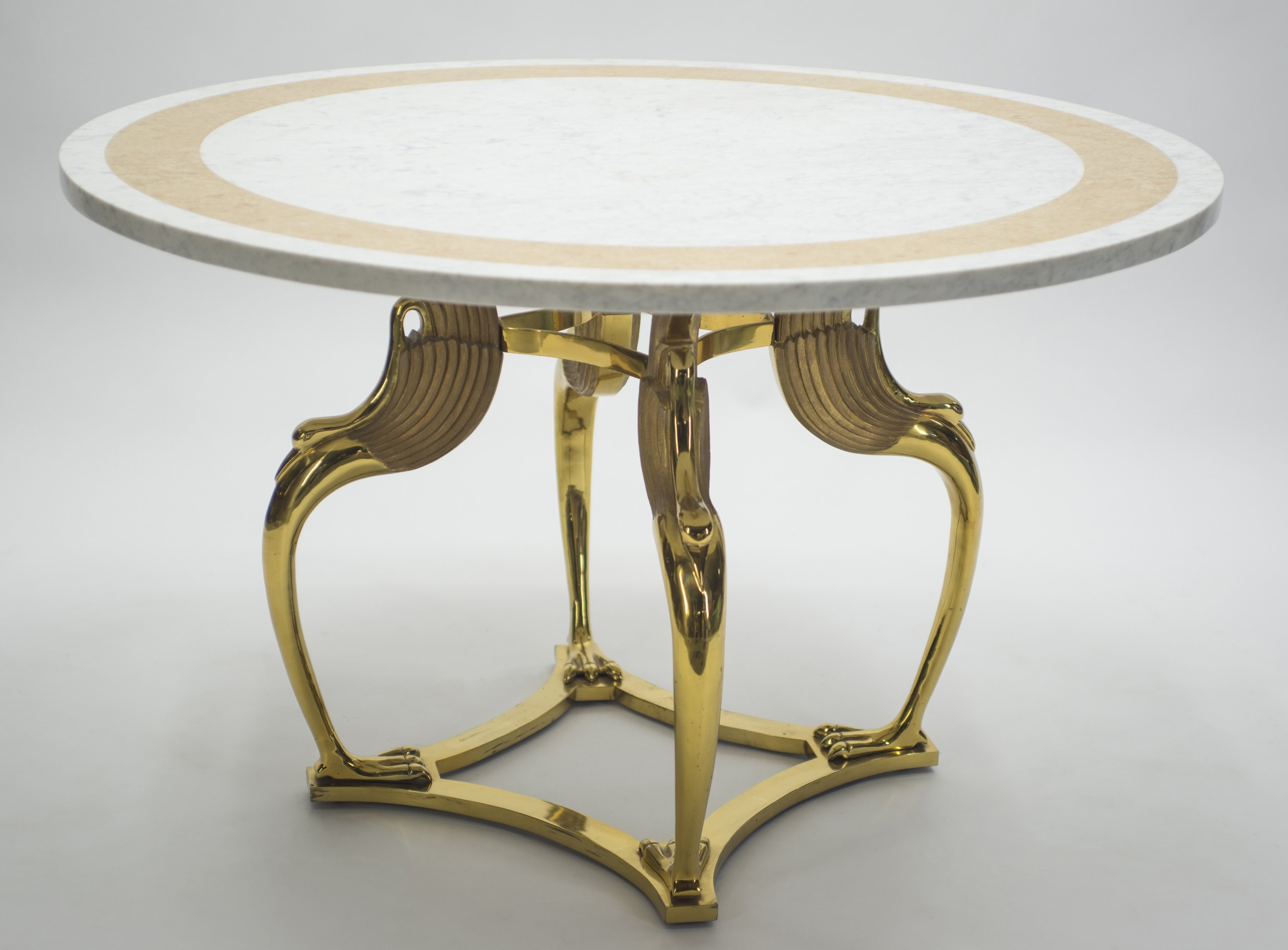 Unique Mid Century Roger Thibier Brass Marble Dining Table 1970s 129170